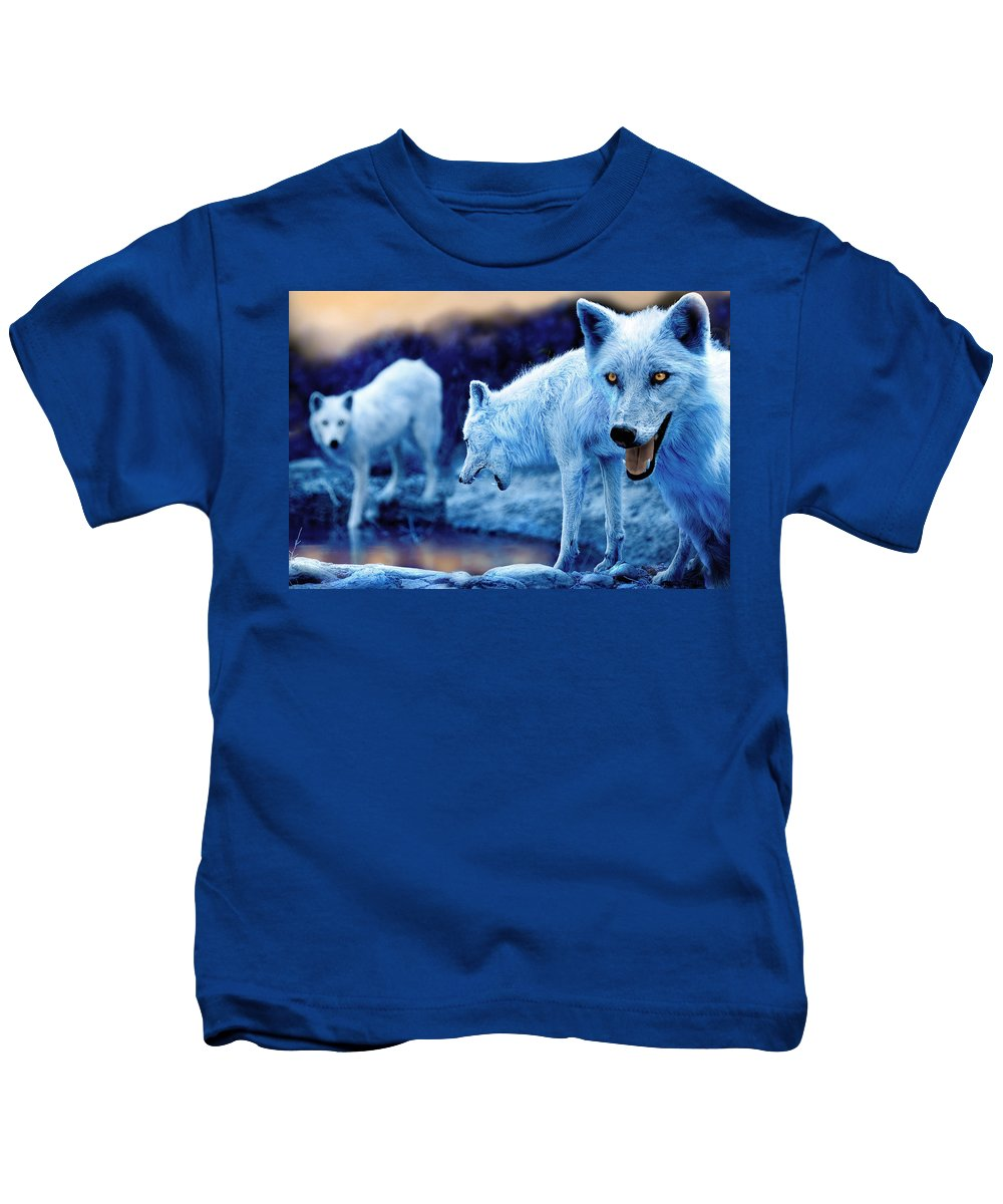 Wolf Kids T-Shirt featuring the photograph Arctic White Wolves by Mal Bray