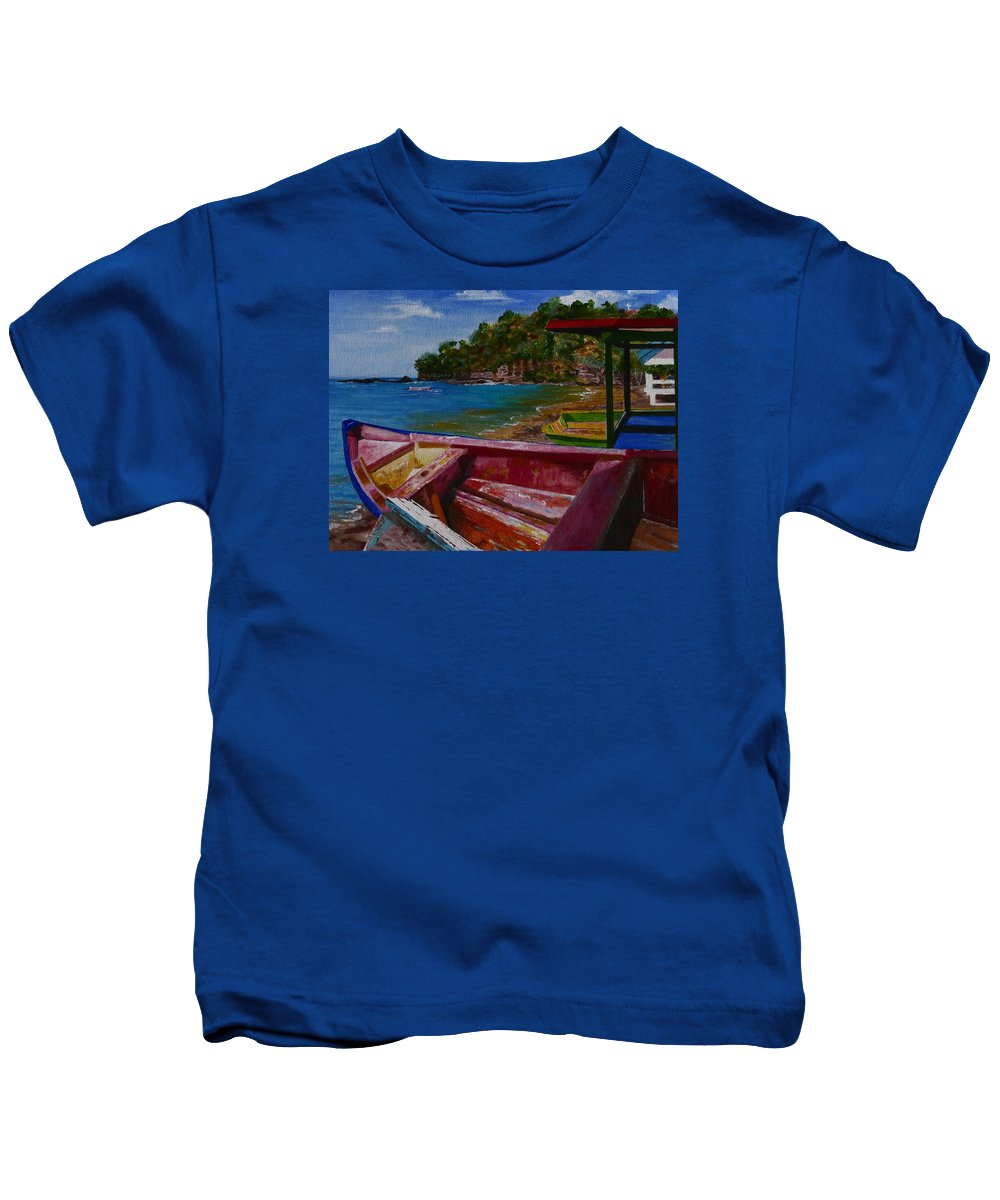 Blue Caribbean Sea Shore Kids T-Shirt featuring the painting At Rest by Barbara Ebeling