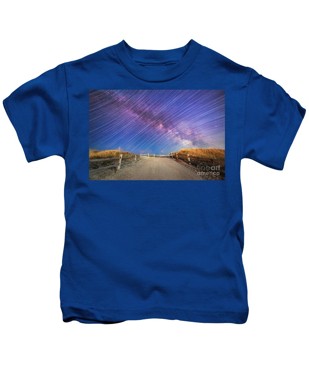 Milky Way Mike Kids T-Shirt featuring the photograph Avalon Star Trails by Michael Ver Sprill