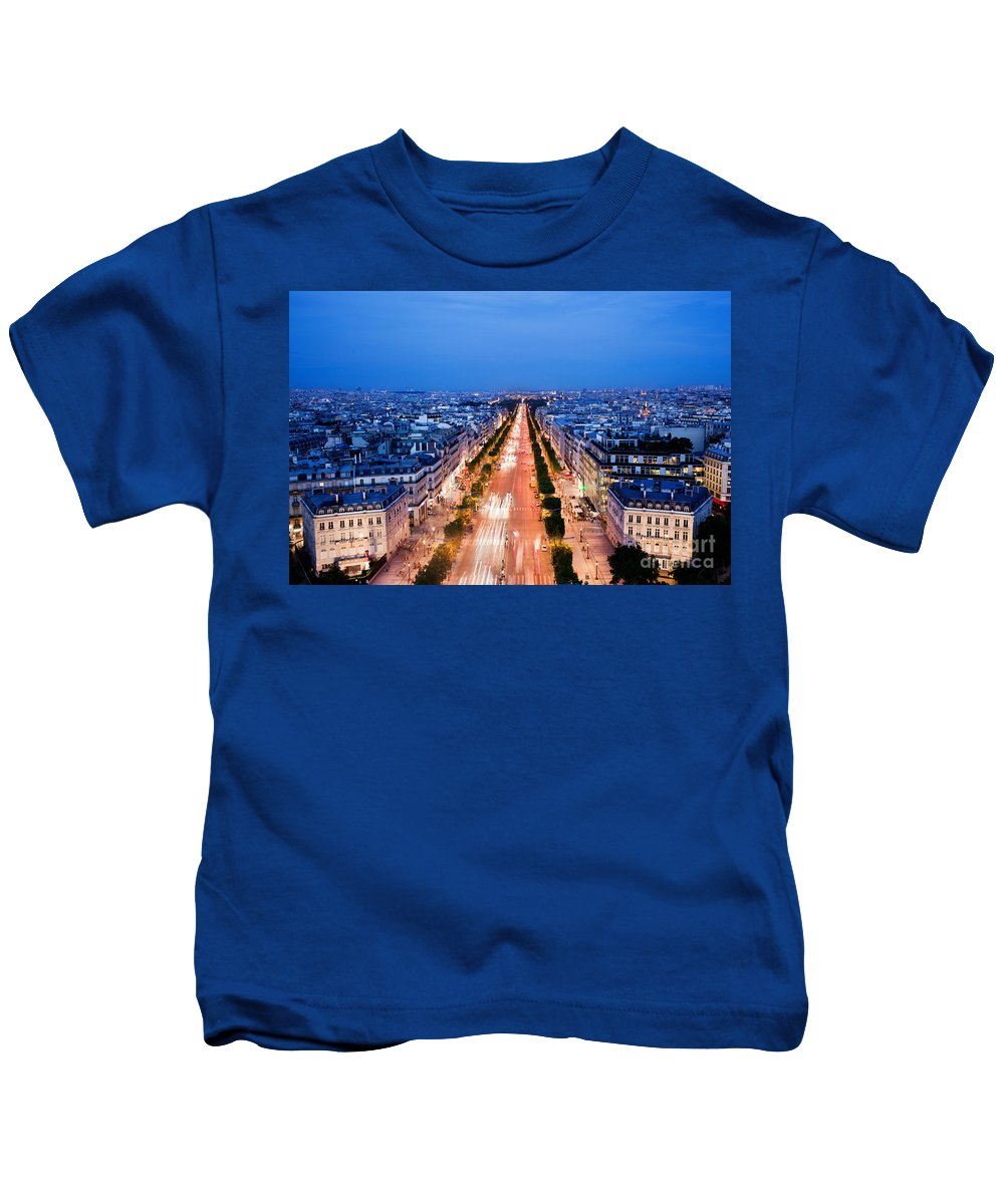 Elysees Kids T-Shirt featuring the photograph Avenue Des Champs Elysees In Paris by Michal Bednarek