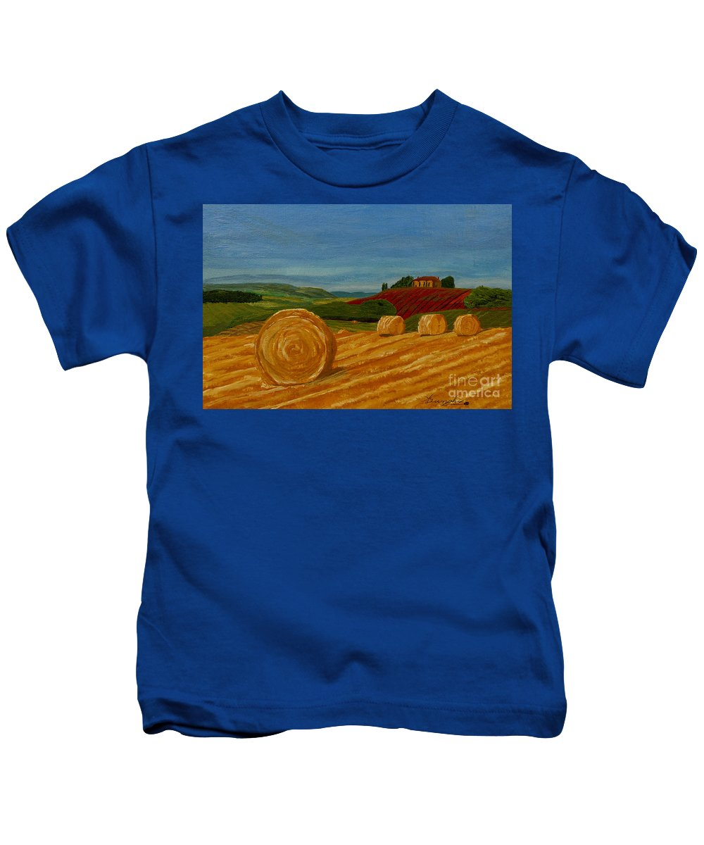 Hay Kids T-Shirt featuring the painting Field Of Golden Hay by Anthony Dunphy