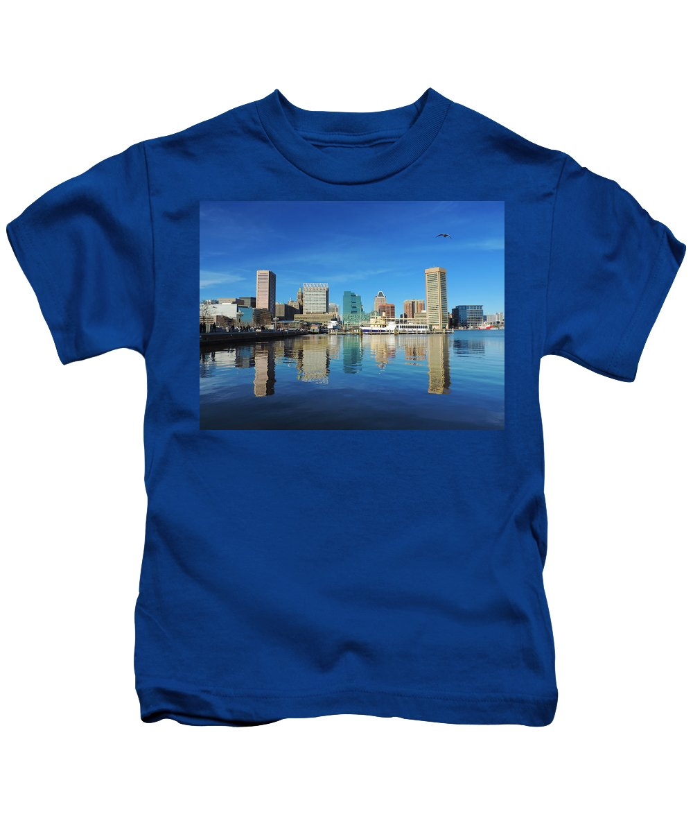 Baltimore Kids T-Shirt featuring the photograph Baltimore Skyline From The Innner Harbor by Cityscape Photography