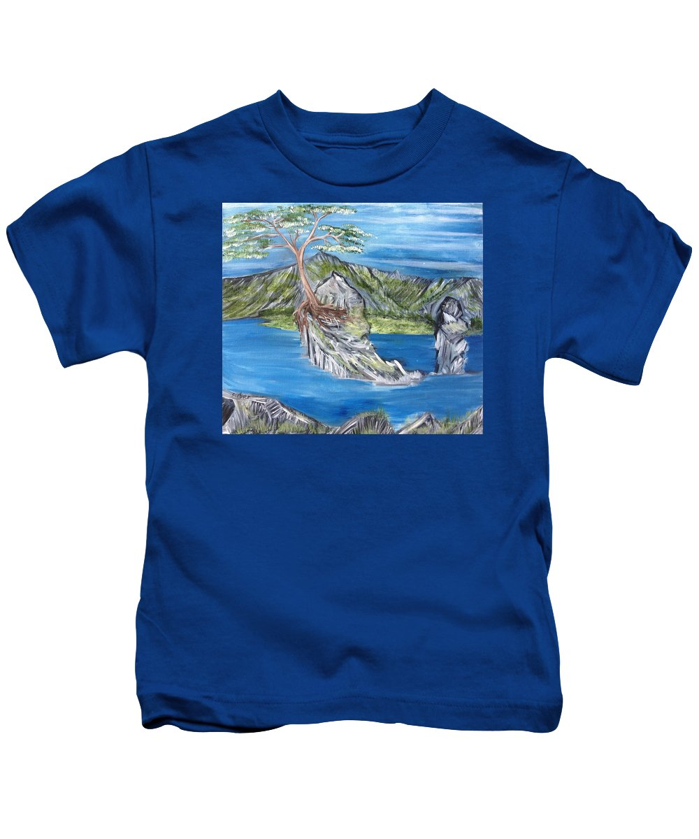 Tree Kids T-Shirt featuring the painting Bay View In Oregon by Suzanne Surber