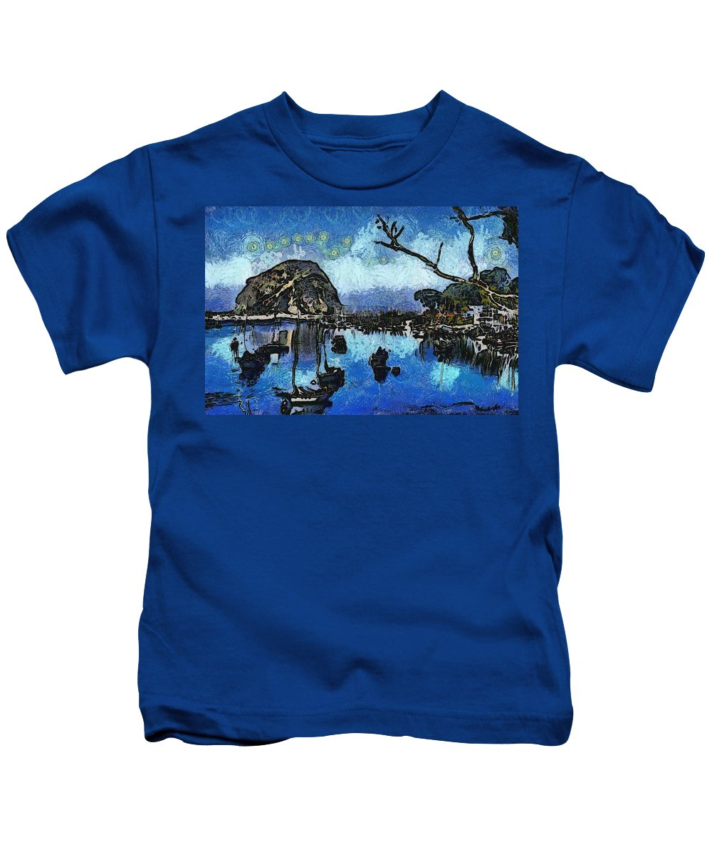 Bay View Kids T-Shirt featuring the digital art Bay View Morro Bay California by Barbara Snyder