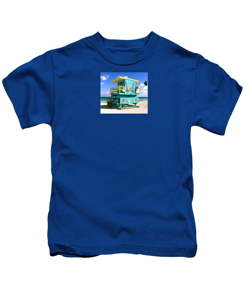 Miami Baywatch Print Kids T-Shirt featuring the photograph Beach Life In Miami Beach by Monique's Fine Art