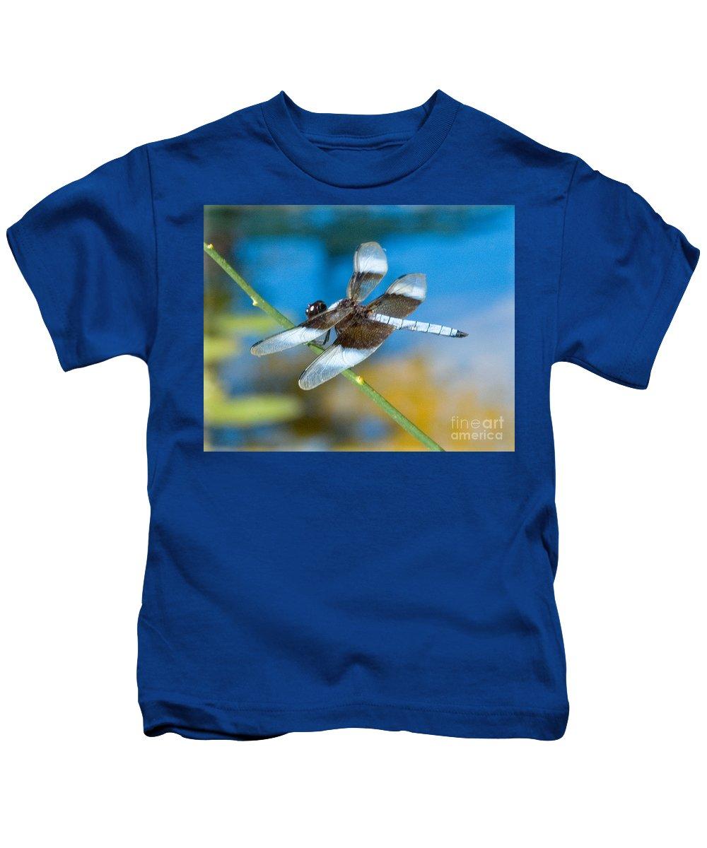 Black & White Dragonfly Photograph Kids T-Shirt featuring the photograph Black And White Dragonfly by Mae Wertz
