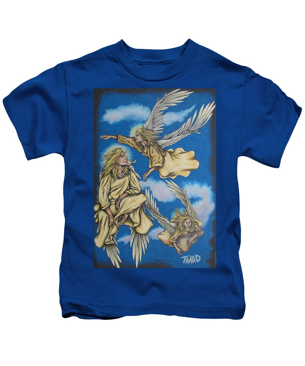 Michael Kids T-Shirt featuring the drawing Bliss by Michael TMAD Finney