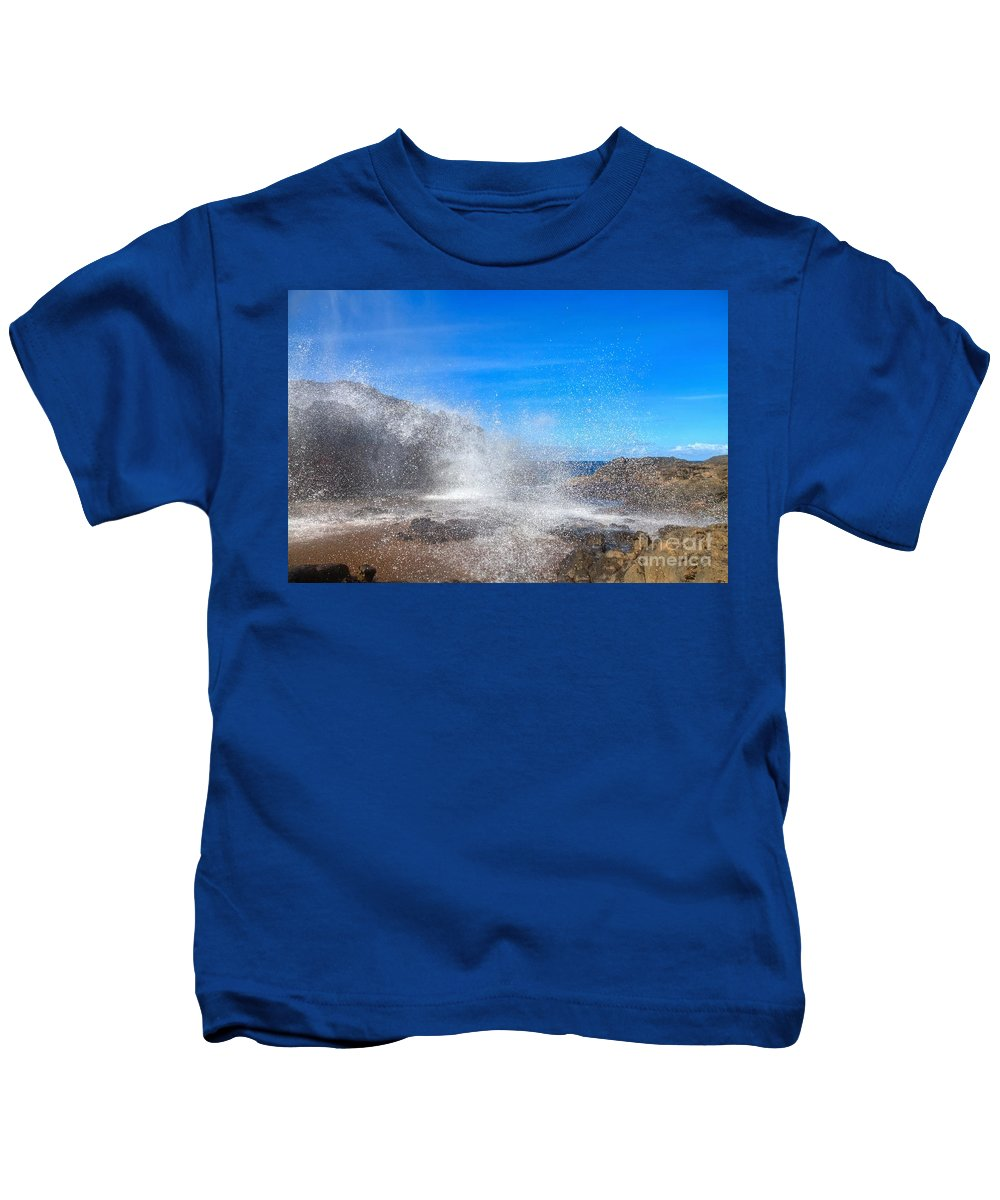 Nakalele Blowhole Kids T-Shirt featuring the photograph Blow Hole Blow Out by James Anderson