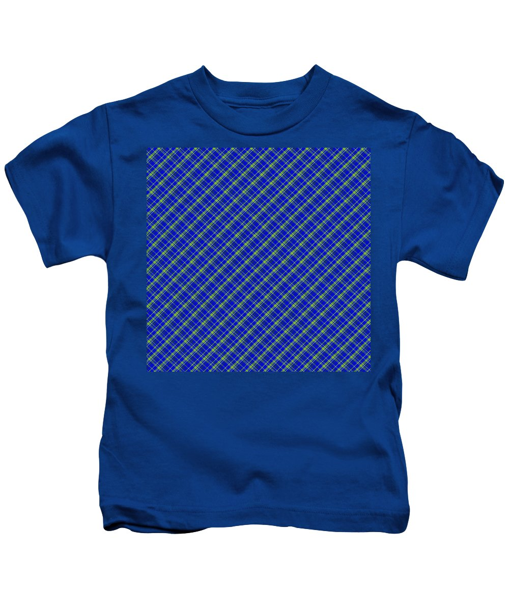 Pattern Kids T-Shirt featuring the photograph Blue And Green Diagonal Plaid Pattern Cloth Background by Keith Webber Jr