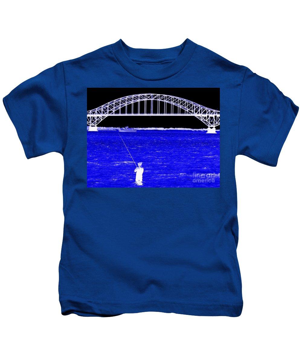 Pop Art Kids T-Shirt featuring the photograph Blue Bay Bridge by Ed Weidman