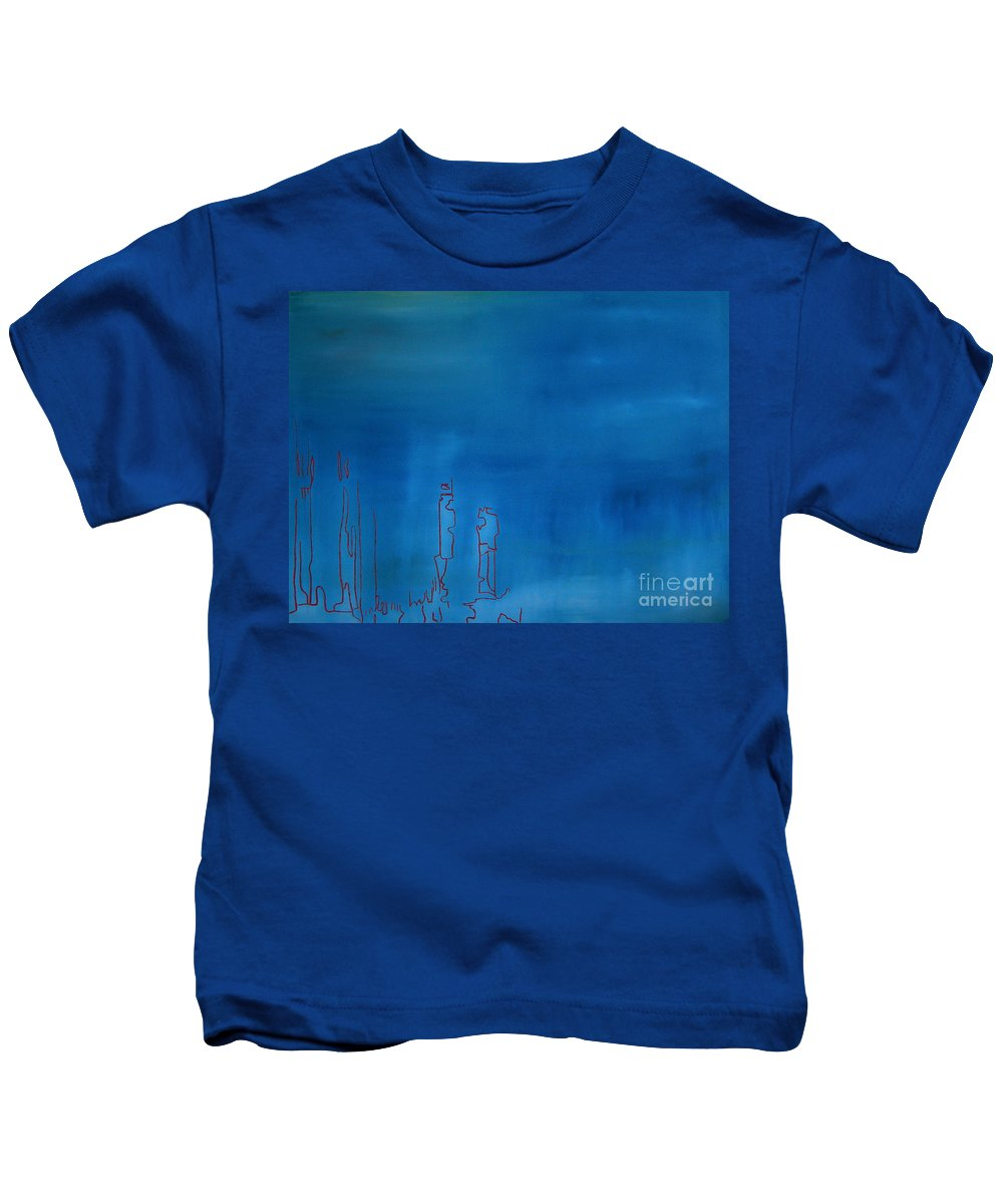 Blue Painting Kids T-Shirt featuring the painting Blue by Jeff Barrett