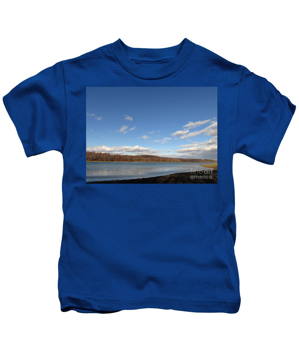 Blue Sky Blue Lake Pennsylvania Natural Landscapes Winter Landscapes Winter Lakescapes Waterscapes Skyscapes Blue Sky Clouds Blue Landscapes Kids T-Shirt featuring the photograph Blue Lake by Joshua Bales