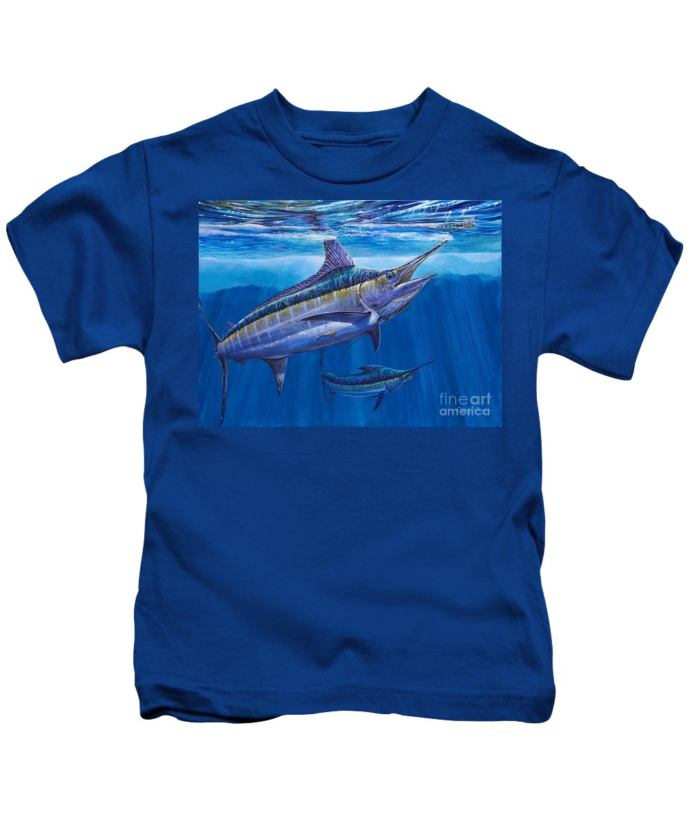 Blue Marlin Kids T-Shirt featuring the painting Blue Marlin Bite Off001 by Carey Chen