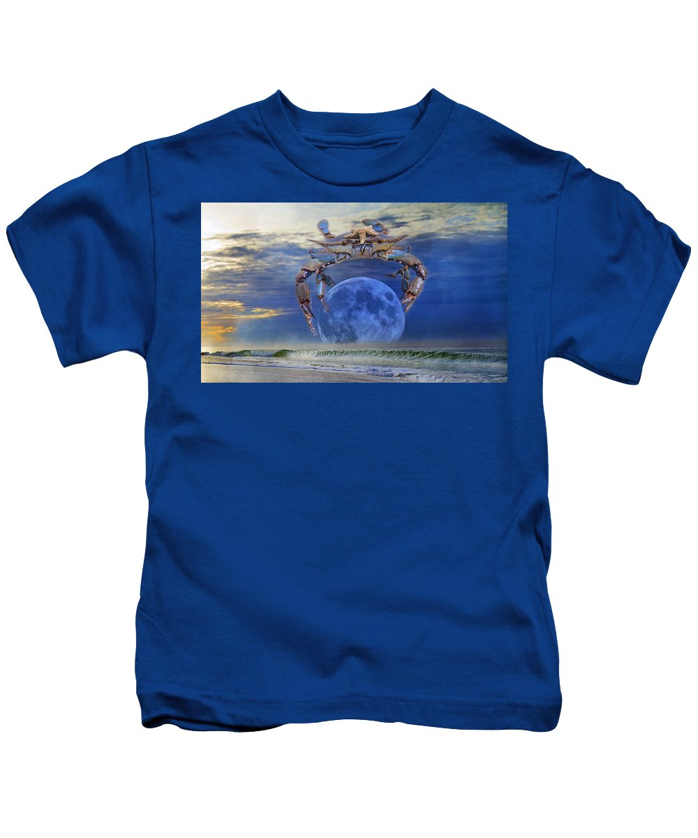 Blue Kids T-Shirt featuring the digital art Blue Moon Crab by Betsy Knapp