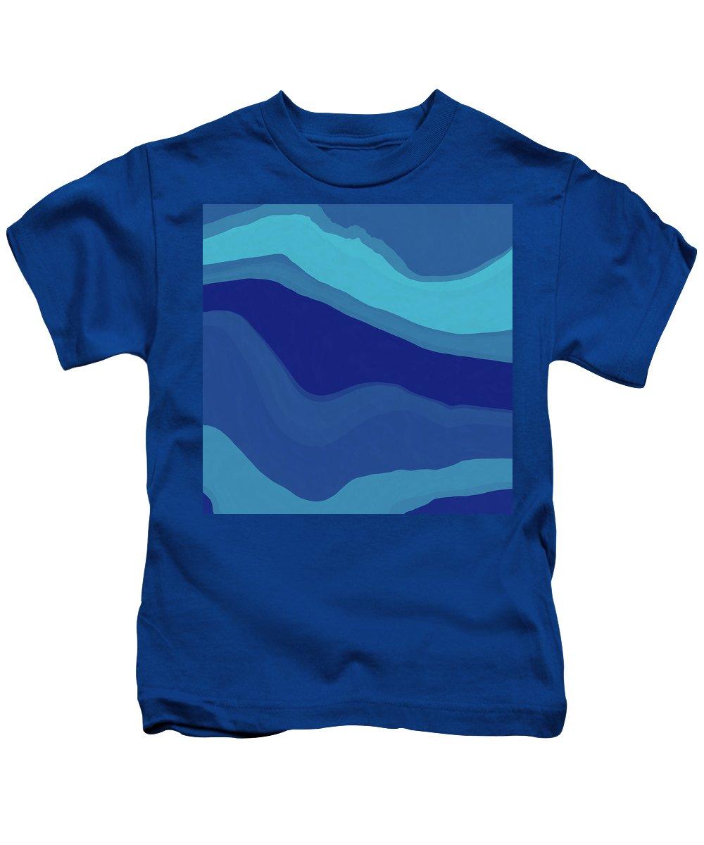 Blue Kids T-Shirt featuring the digital art Blue Motion by David G Paul