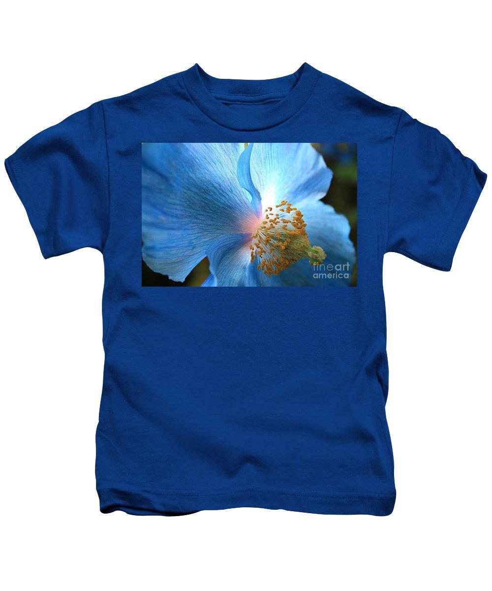 Carol Groenen Kids T-Shirt featuring the photograph Blue Poppy by Carol Groenen