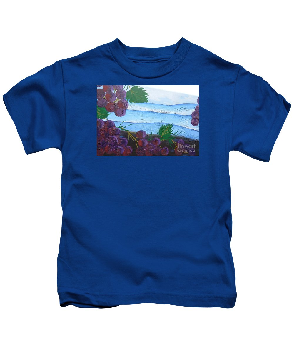 Blue Ridge Mountains Kids T-Shirt featuring the painting Blue Ridge Mountain Vineyard by Jean Fry