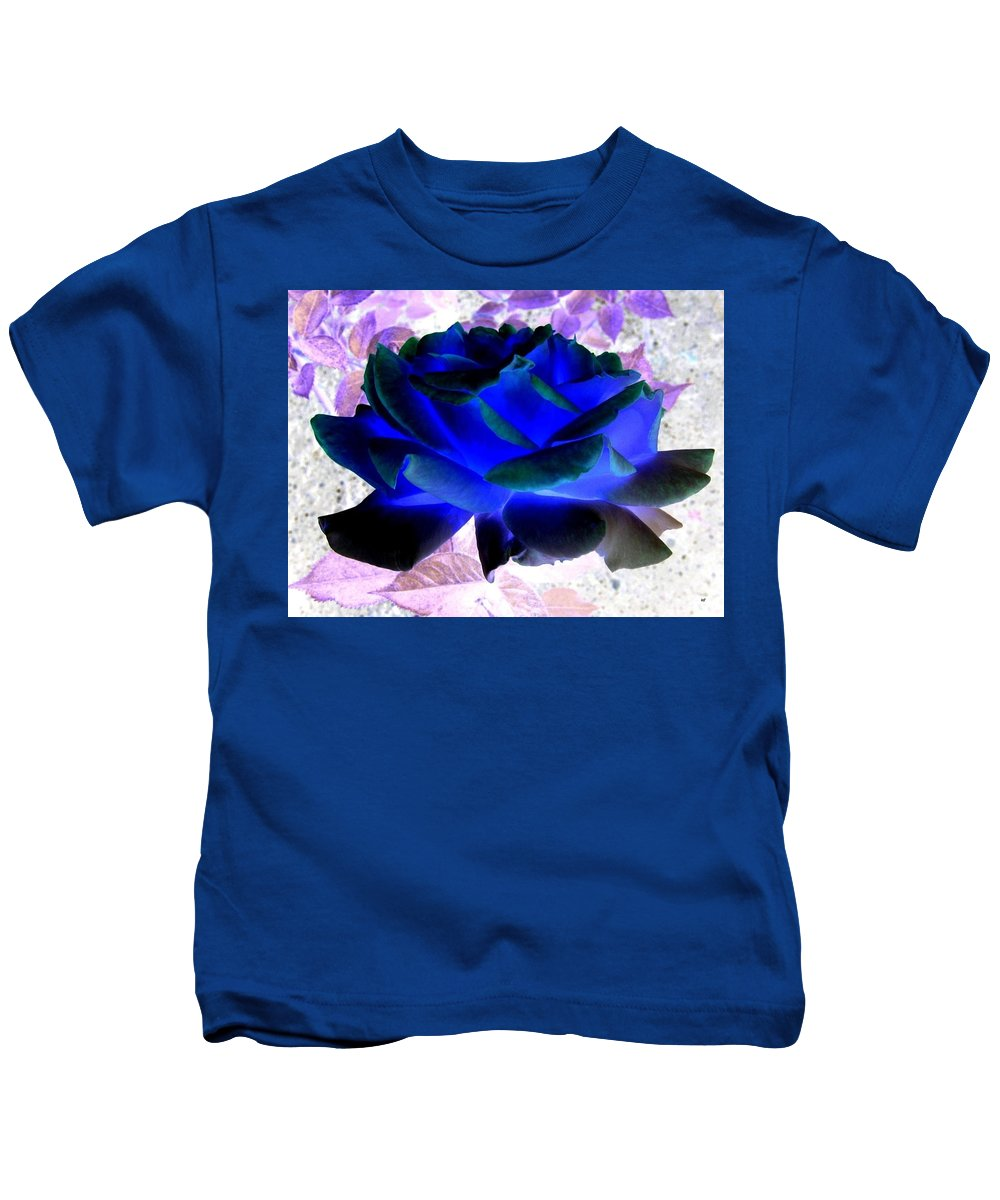 Blue Rose Kids T-Shirt featuring the digital art Blue Rose by Will Borden