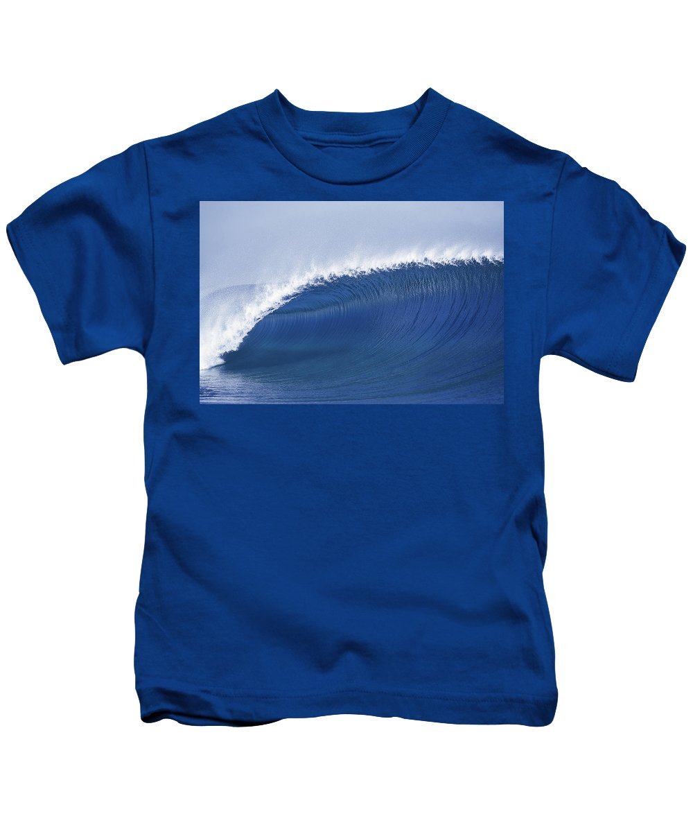 Sea Wave Kids T-Shirt featuring the photograph Blue Spinner by Sean Davey