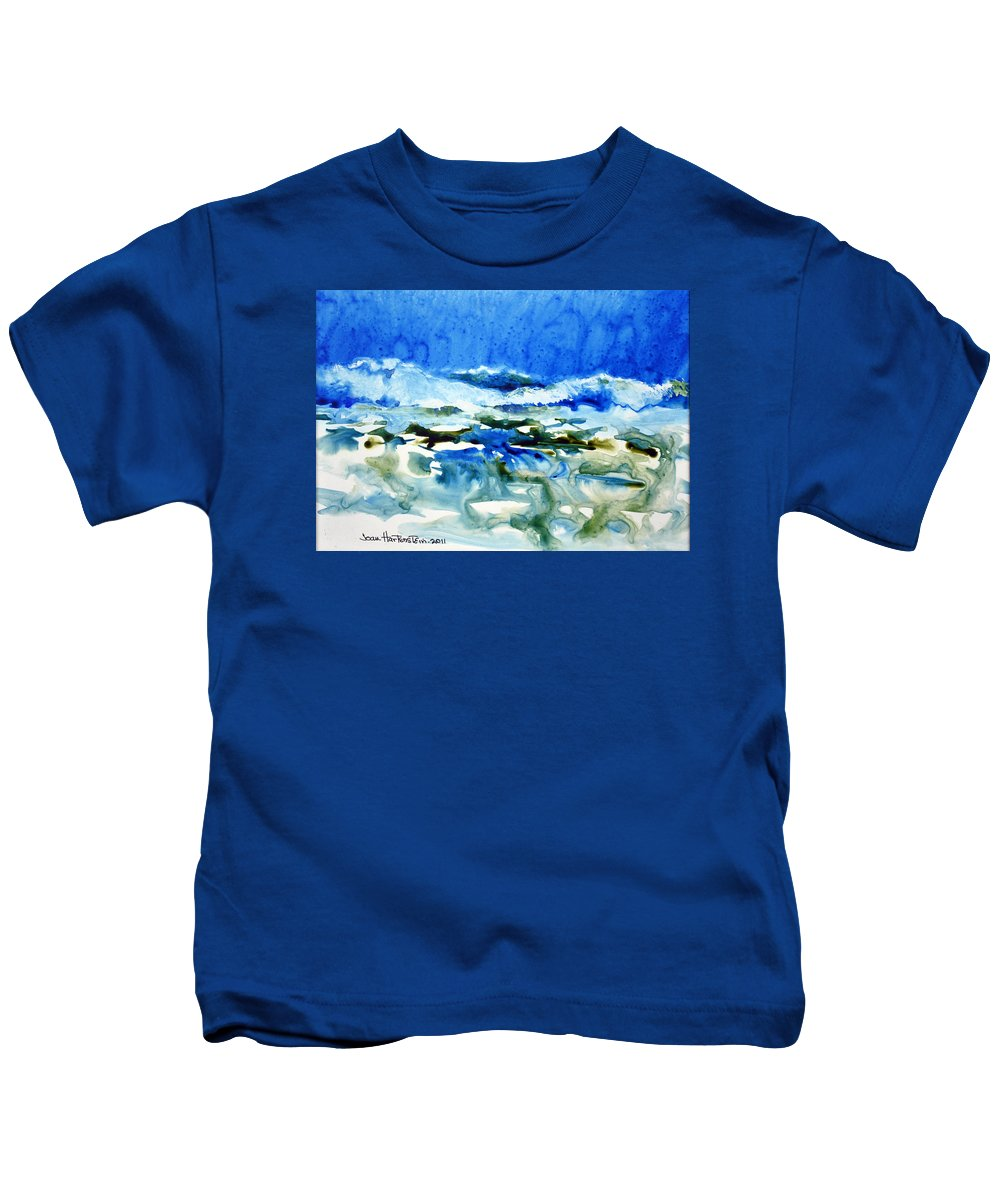 Ocean Kids T-Shirt featuring the painting Blue Surf by Joan Hartenstein