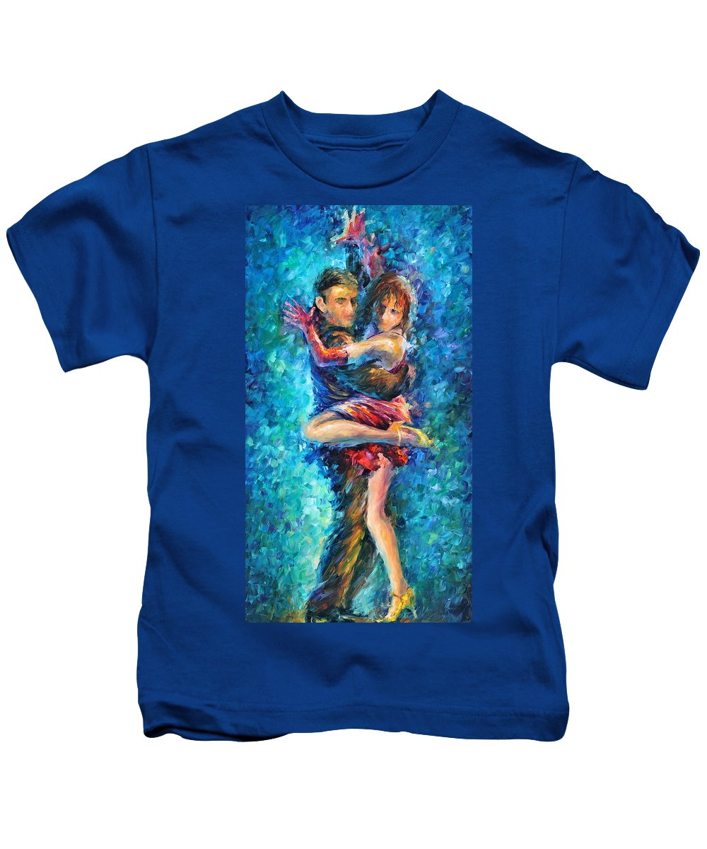 Afremov Kids T-Shirt featuring the painting Blue Tango 1 by Leonid Afremov
