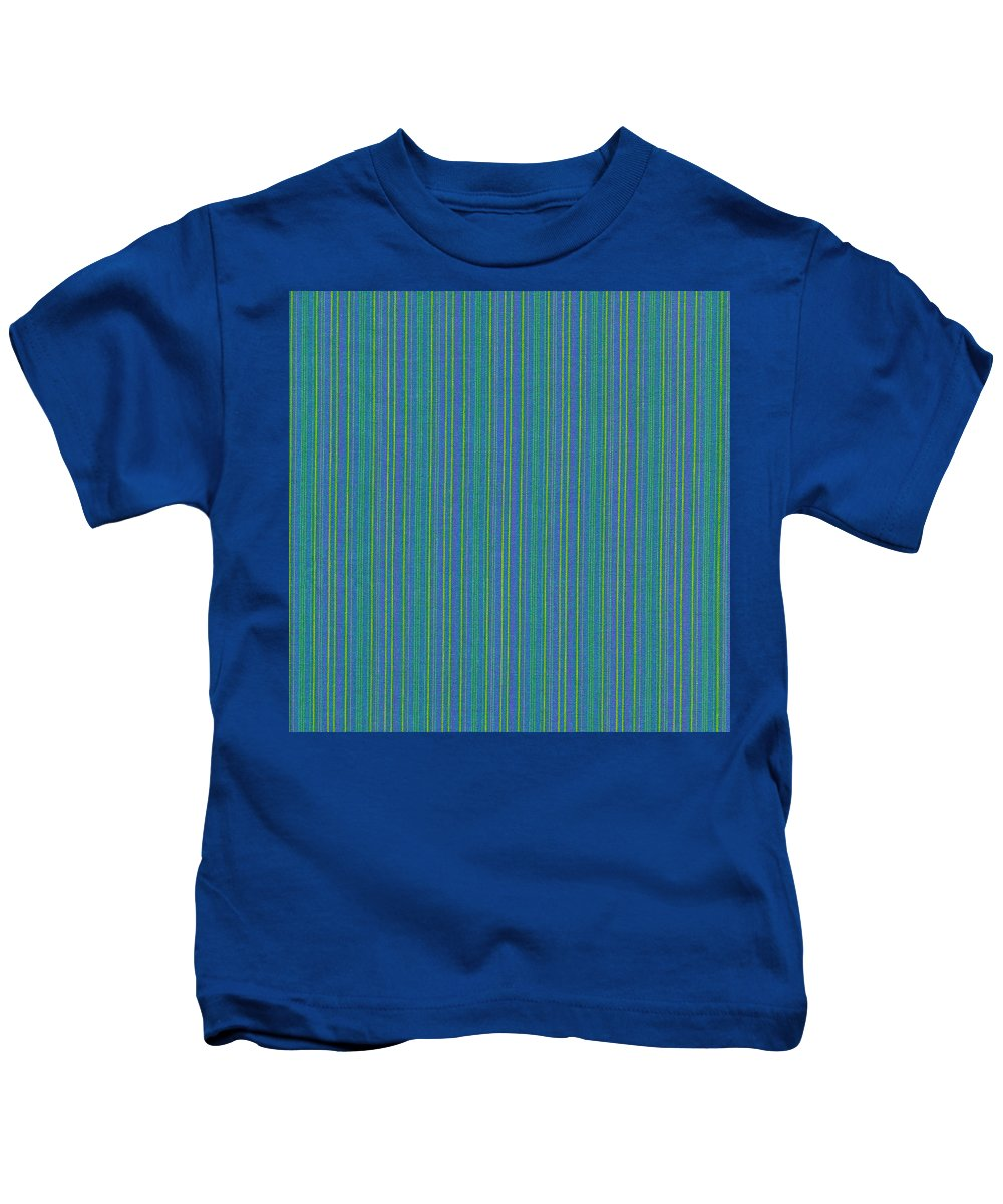 Texture Kids T-Shirt featuring the photograph Blue Teal And Yellow Striped Textile Background by Keith Webber Jr
