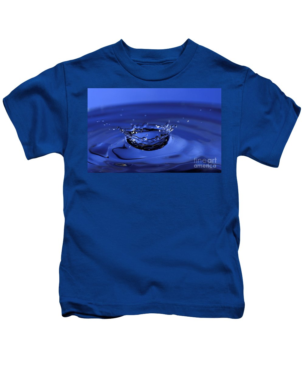 Water Drop Kids T-Shirt featuring the photograph Blue Water Splash by Anthony Sacco