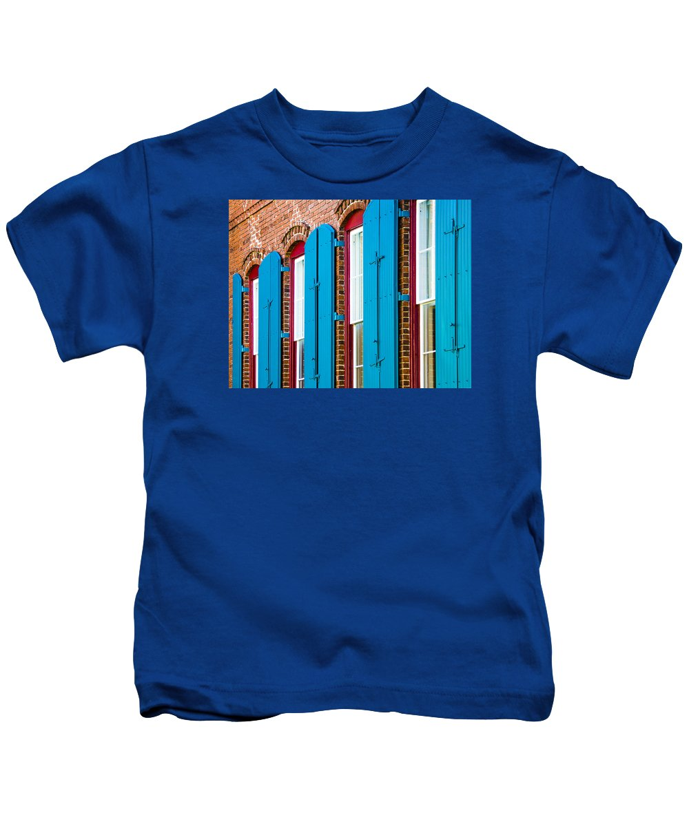 Architecture Kids T-Shirt featuring the photograph Blue Windows by Carolyn Marshall