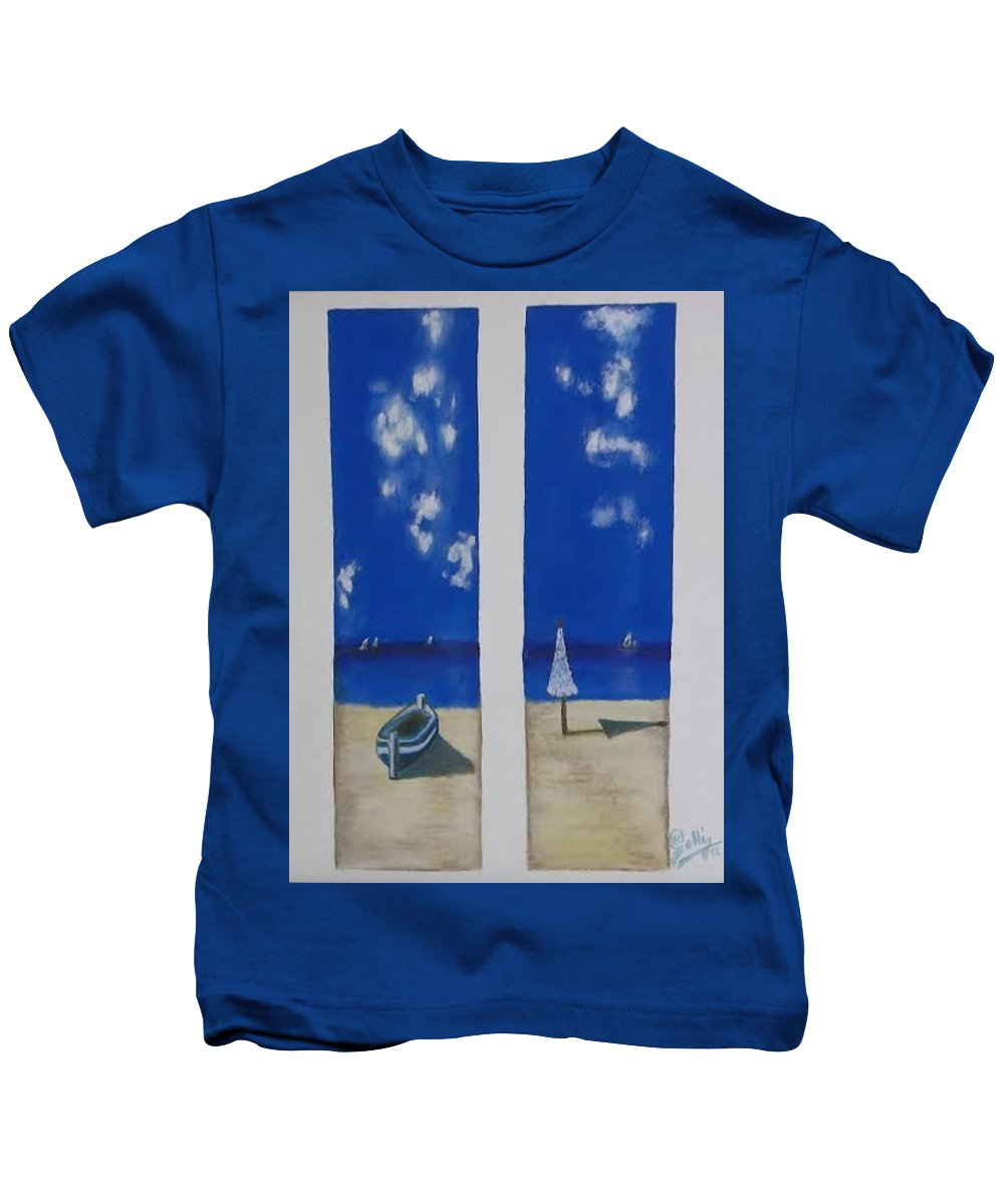 Boats Kids T-Shirt featuring the painting Boats And Umbrellas by Ramadan Agolli