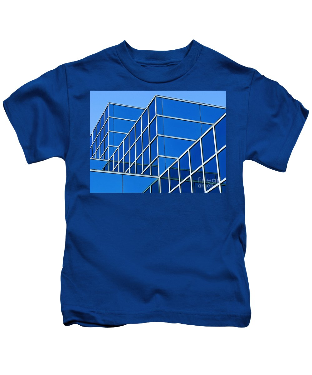 Building Kids T-Shirt featuring the photograph Boldly Blue by Ann Horn