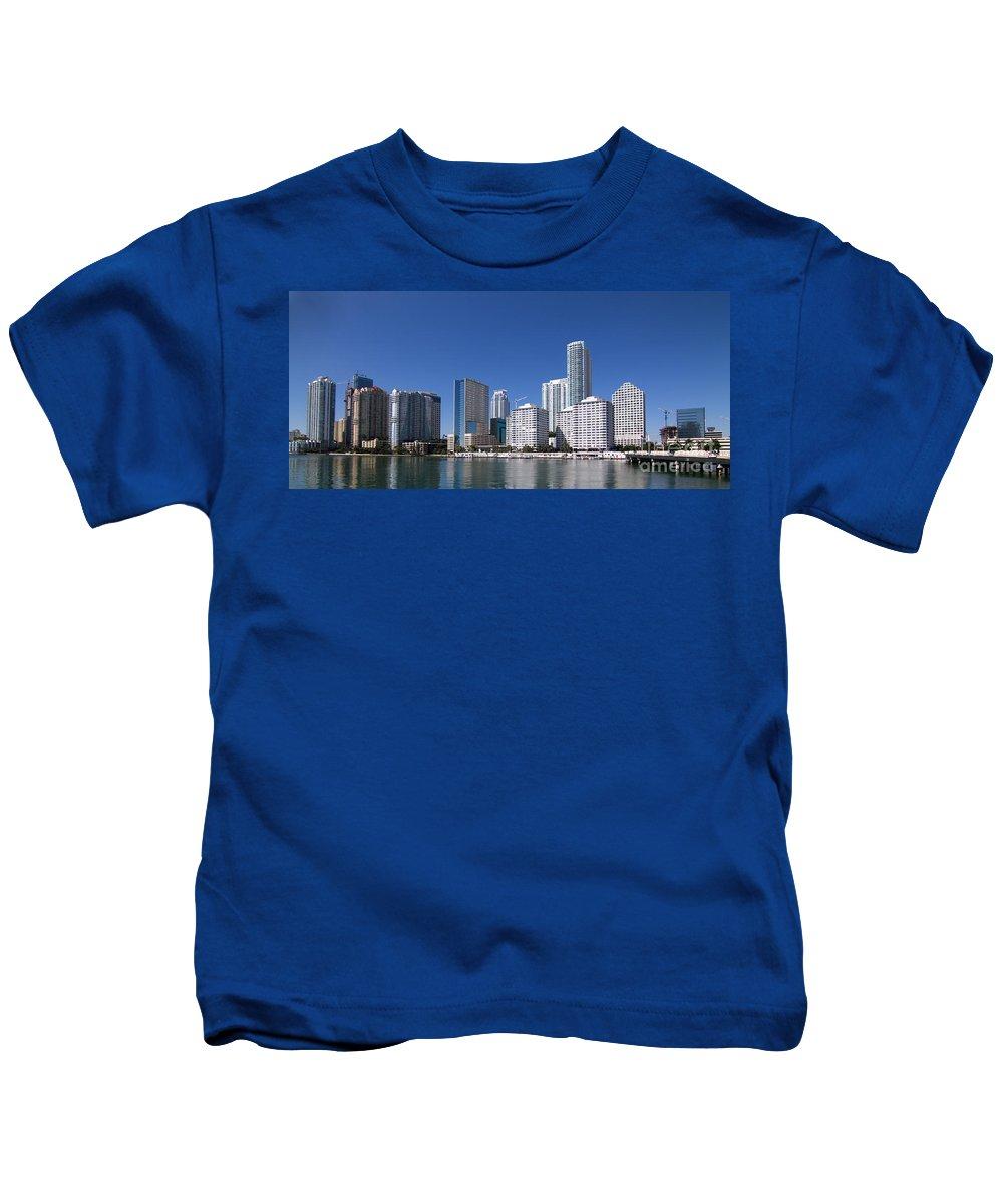 Brickell Kids T-Shirt featuring the photograph Brickell Skyline by Carolina Mendez