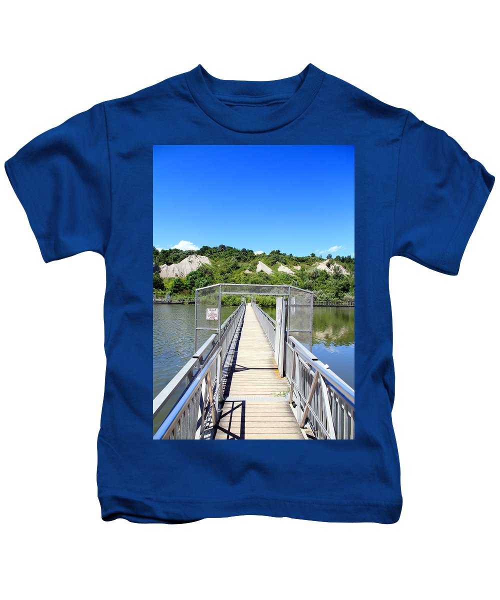 Blue Kids T-Shirt featuring the photograph Bridge To Nowhere by Valentino Visentini
