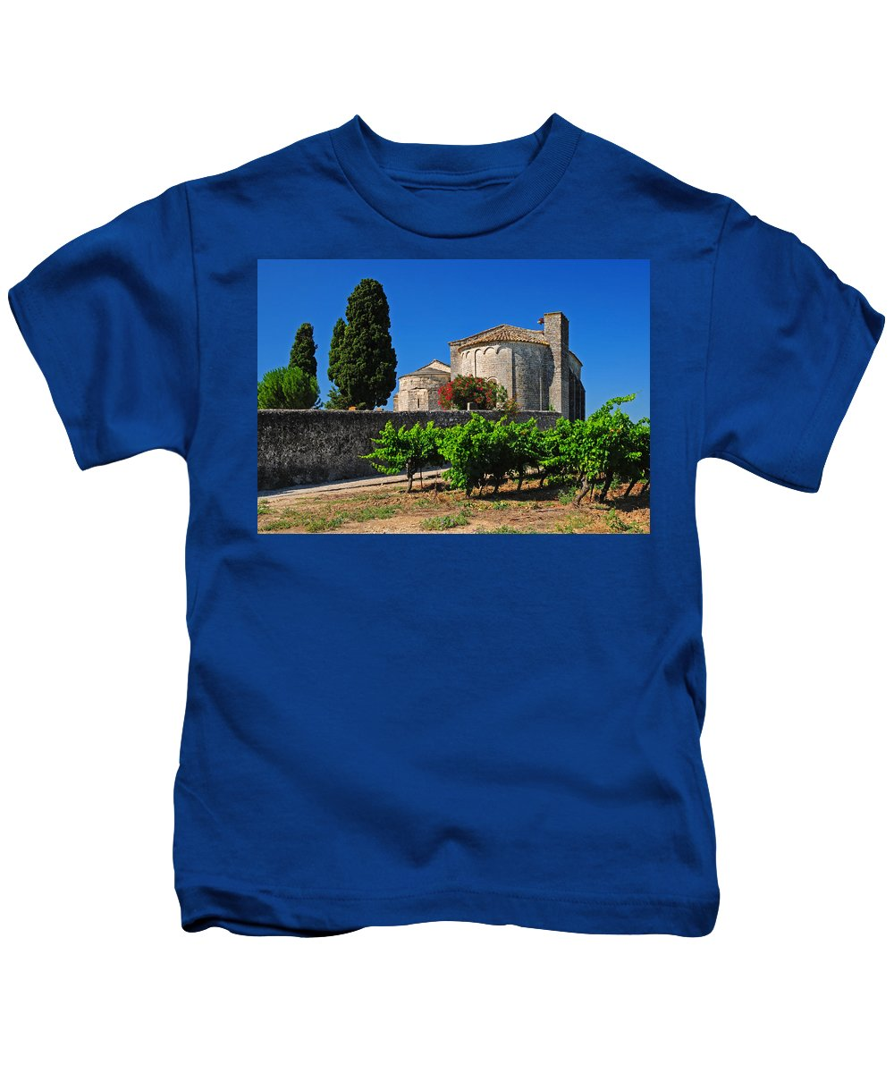 Vineyard Kids T-Shirt featuring the photograph Brittany Vineyard And Monastery by Dave Mills