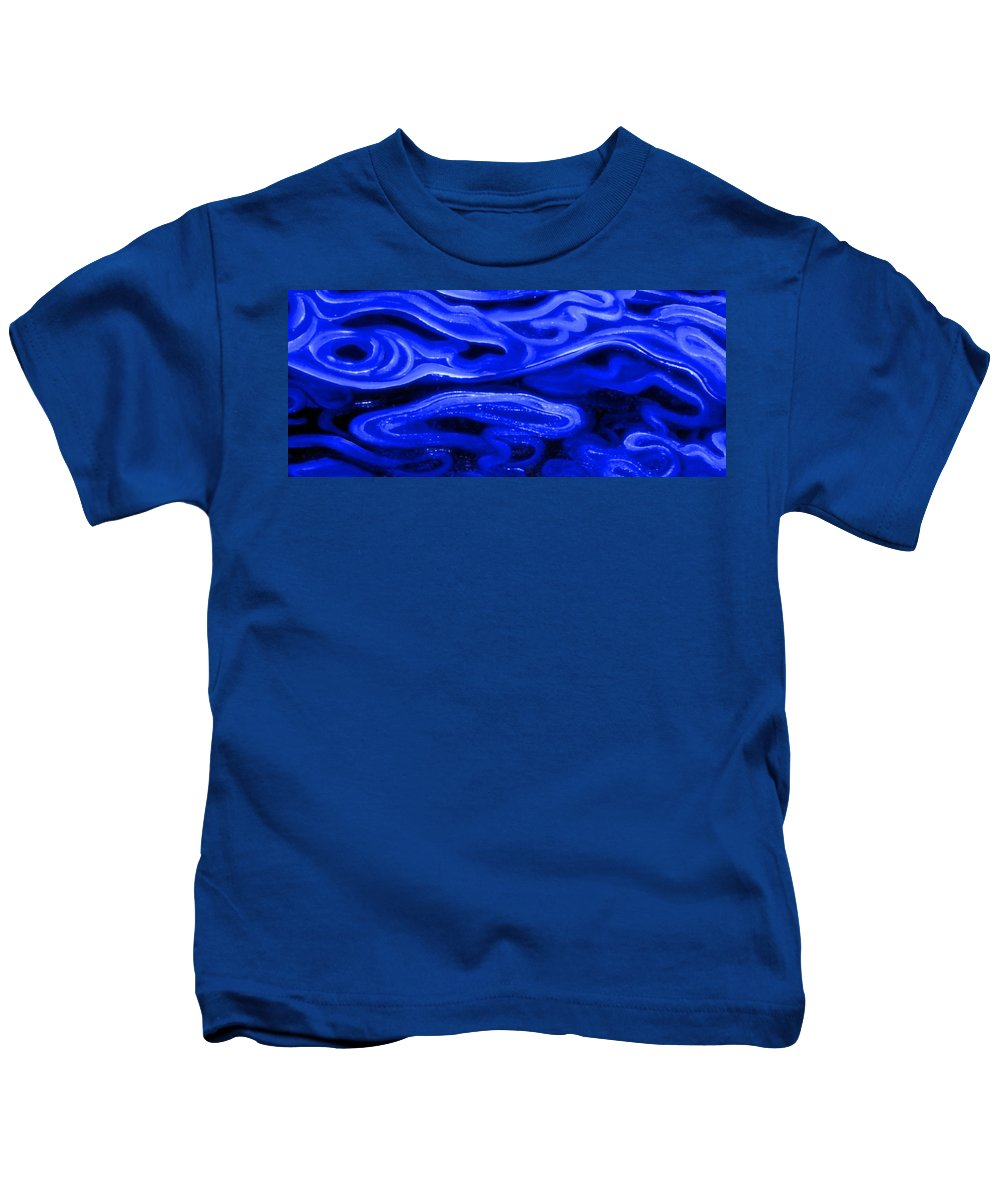 Genio Kids T-Shirt featuring the mixed media Brush Strokes In Blue by Genio GgXpress