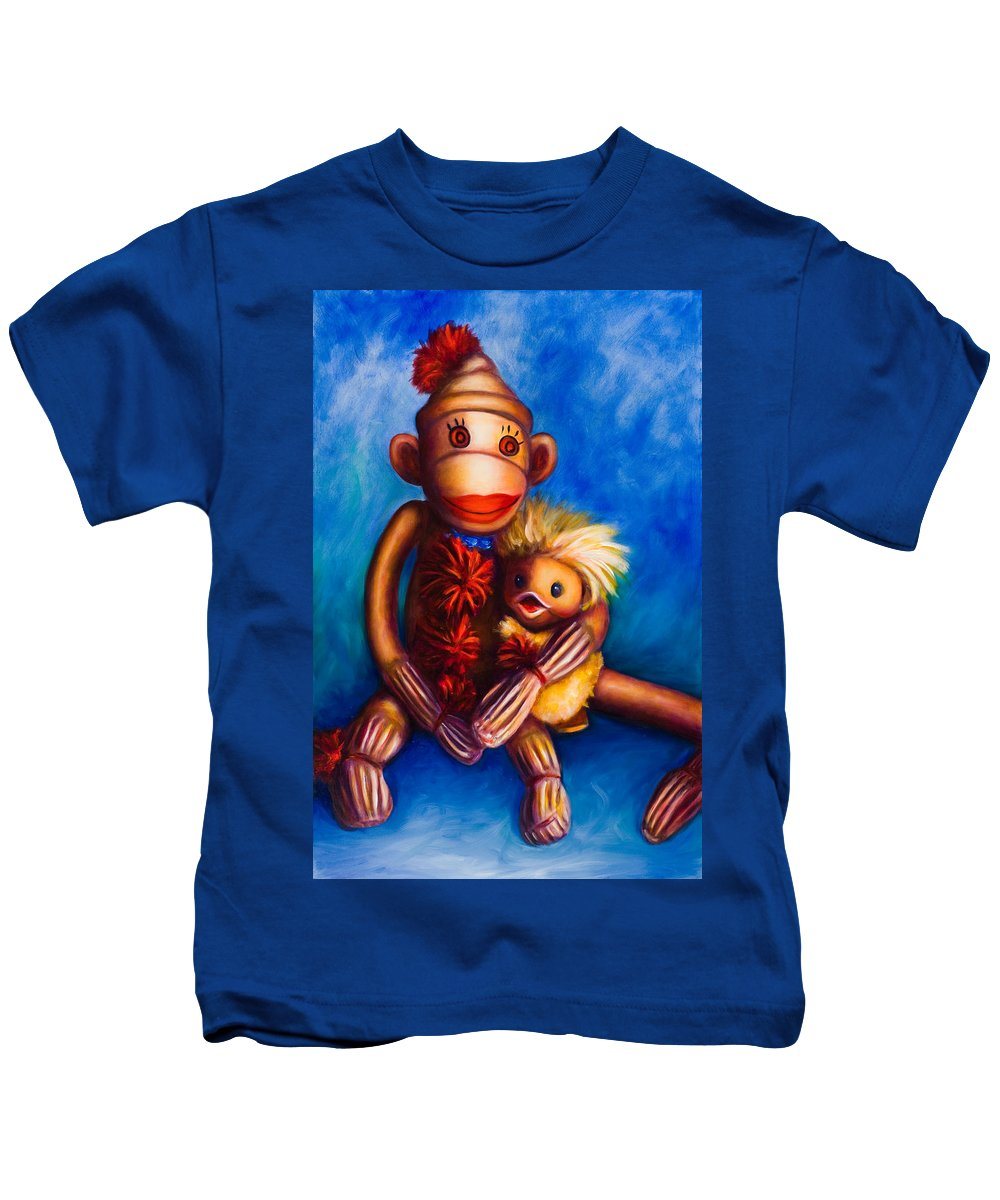 Sock Monkeys Brown Kids T-Shirt featuring the painting Buddies by Shannon Grissom