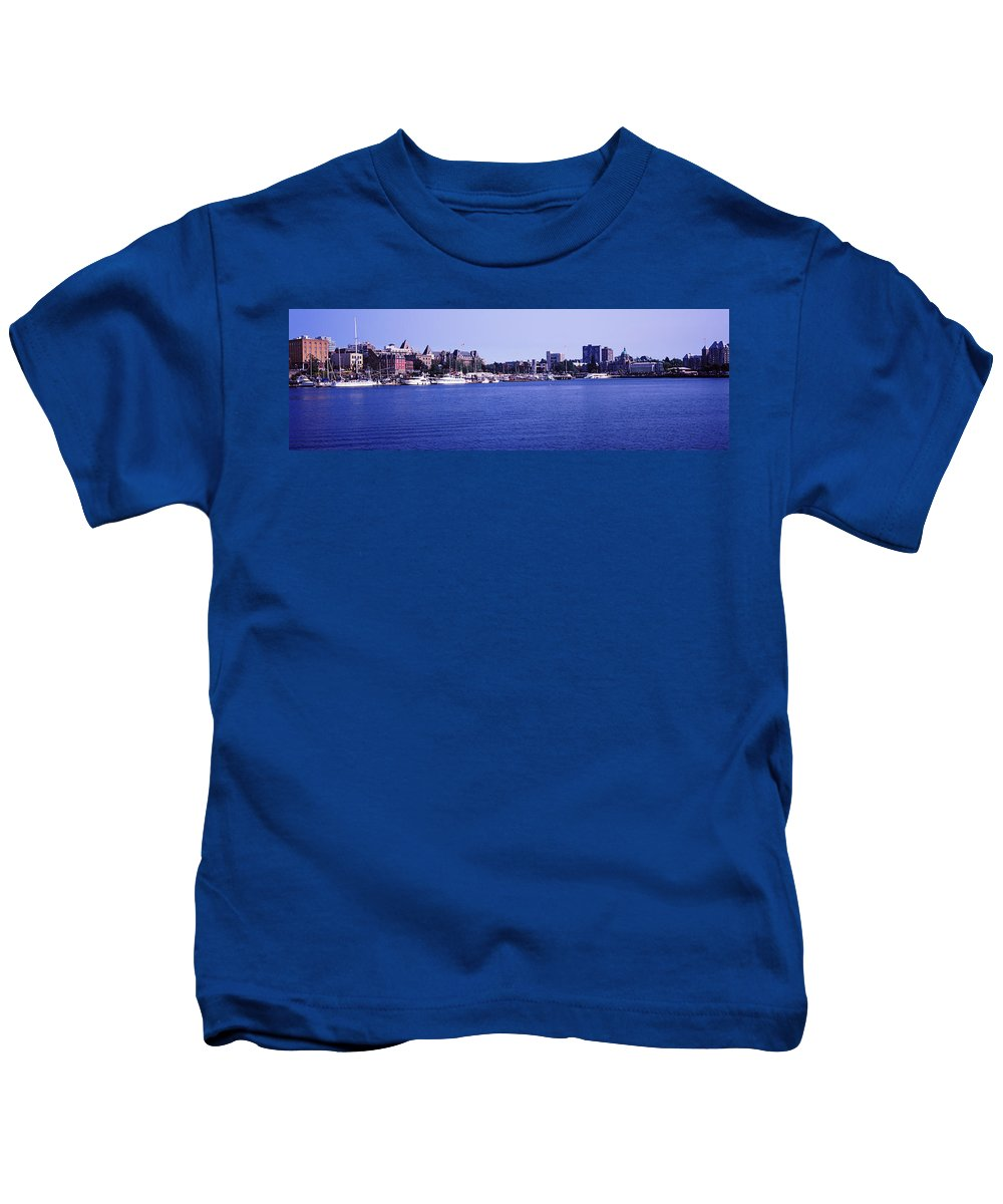 Photography Kids T-Shirt featuring the photograph Buildings At The Waterfront, Inner by Panoramic Images