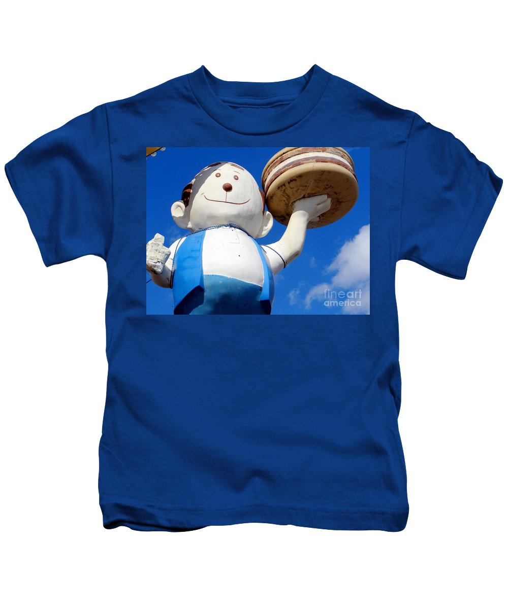 Statues Kids T-Shirt featuring the photograph Burgerman Of Coney Island by Ed Weidman