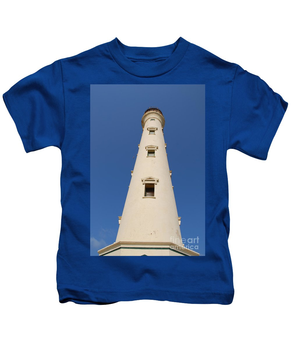 California Lighthouse Kids T-Shirt featuring the photograph California Lighthouse In Aruba by DejaVu Designs