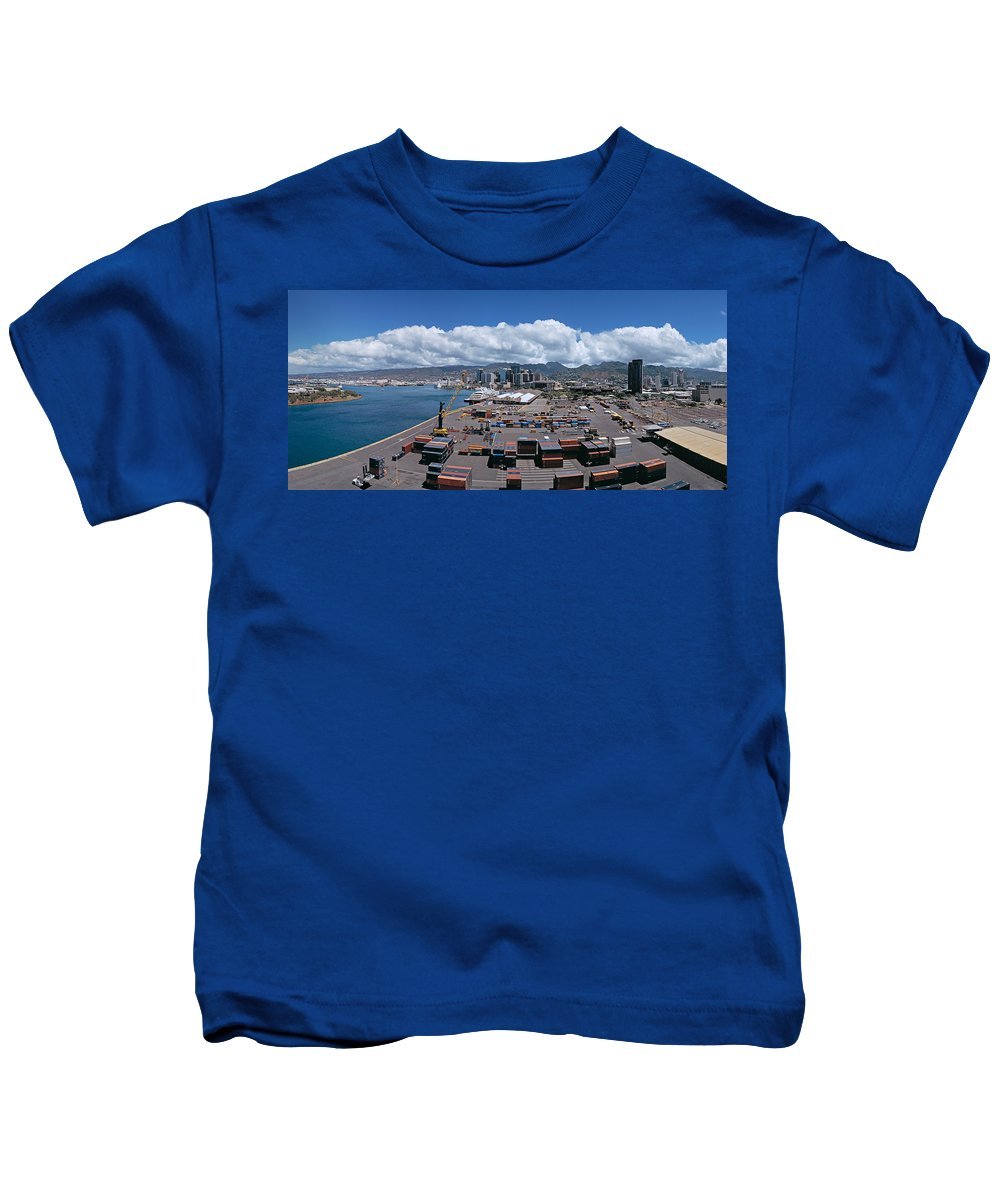 Photography Kids T-Shirt featuring the photograph Cargo Containers At A Harbor, Honolulu by Panoramic Images