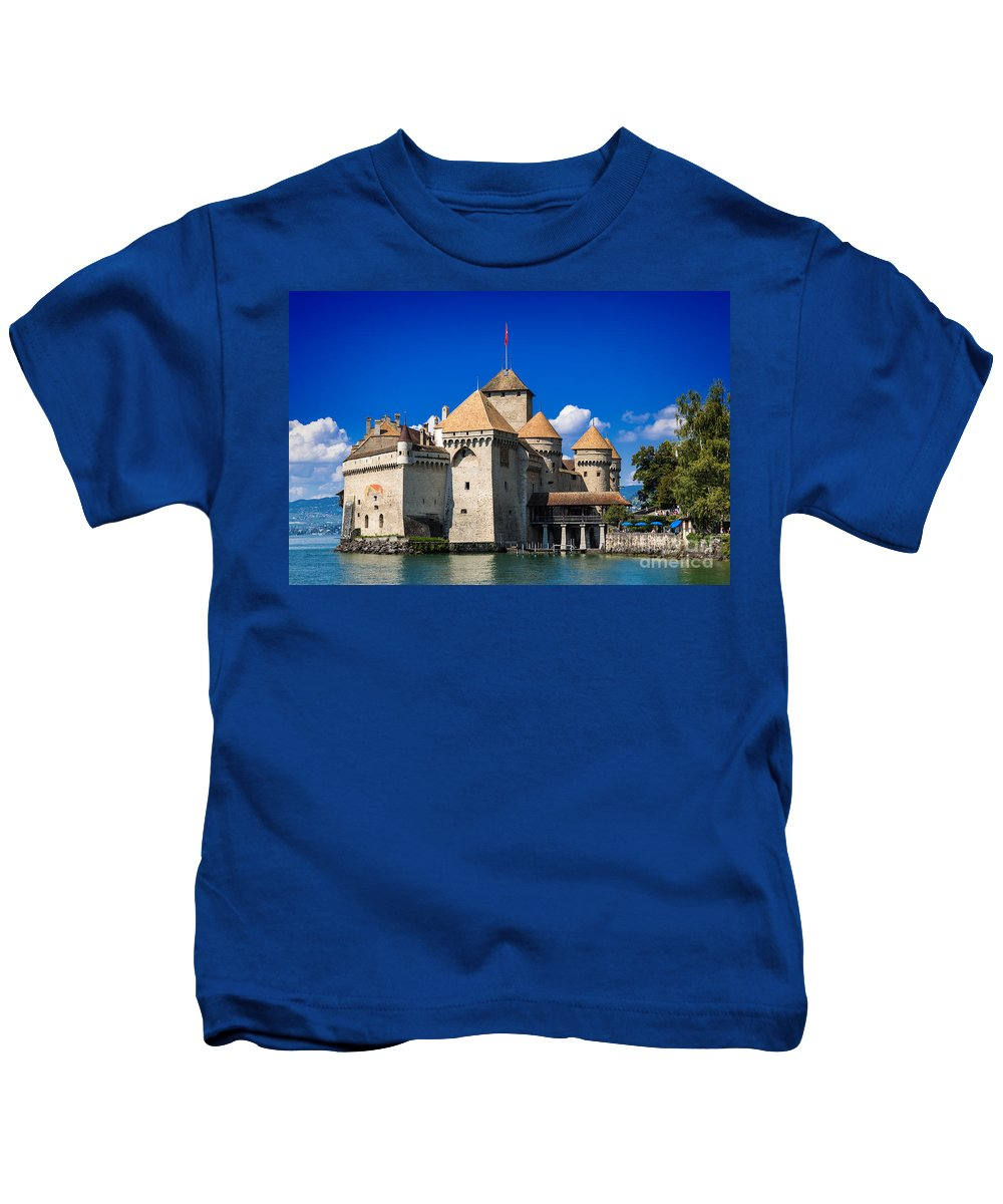 Castle Kids T-Shirt featuring the photograph Chateau Chillon by Carsten Reisinger