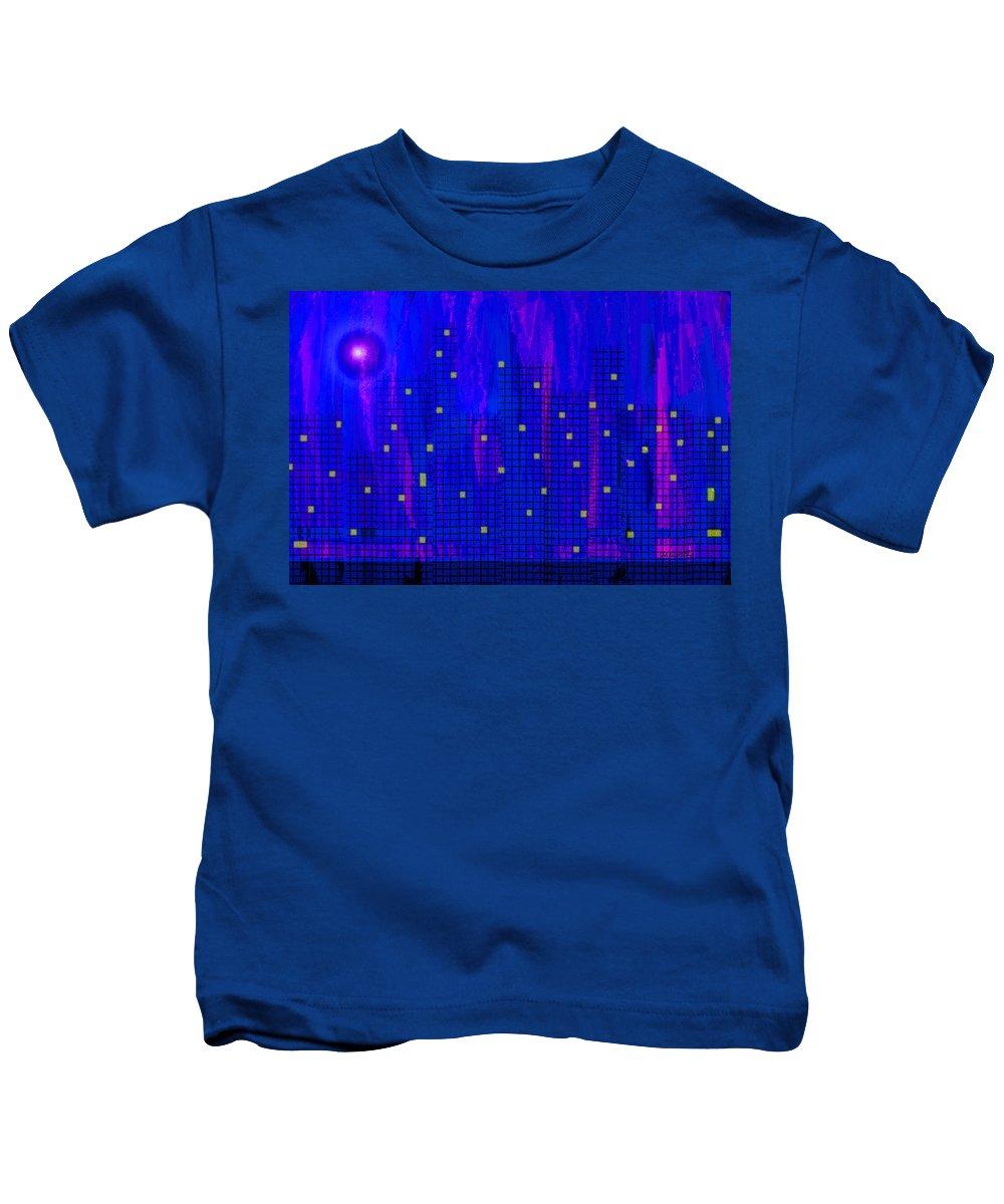City At Night Kids T-Shirt featuring the digital art City At Night by John Vincent Palozzi