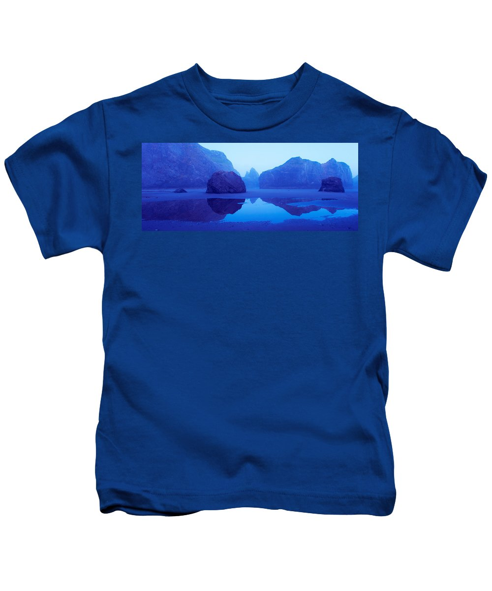 Photography Kids T-Shirt featuring the photograph Cliffs On The Coast At Dawn, Meyers by Panoramic Images