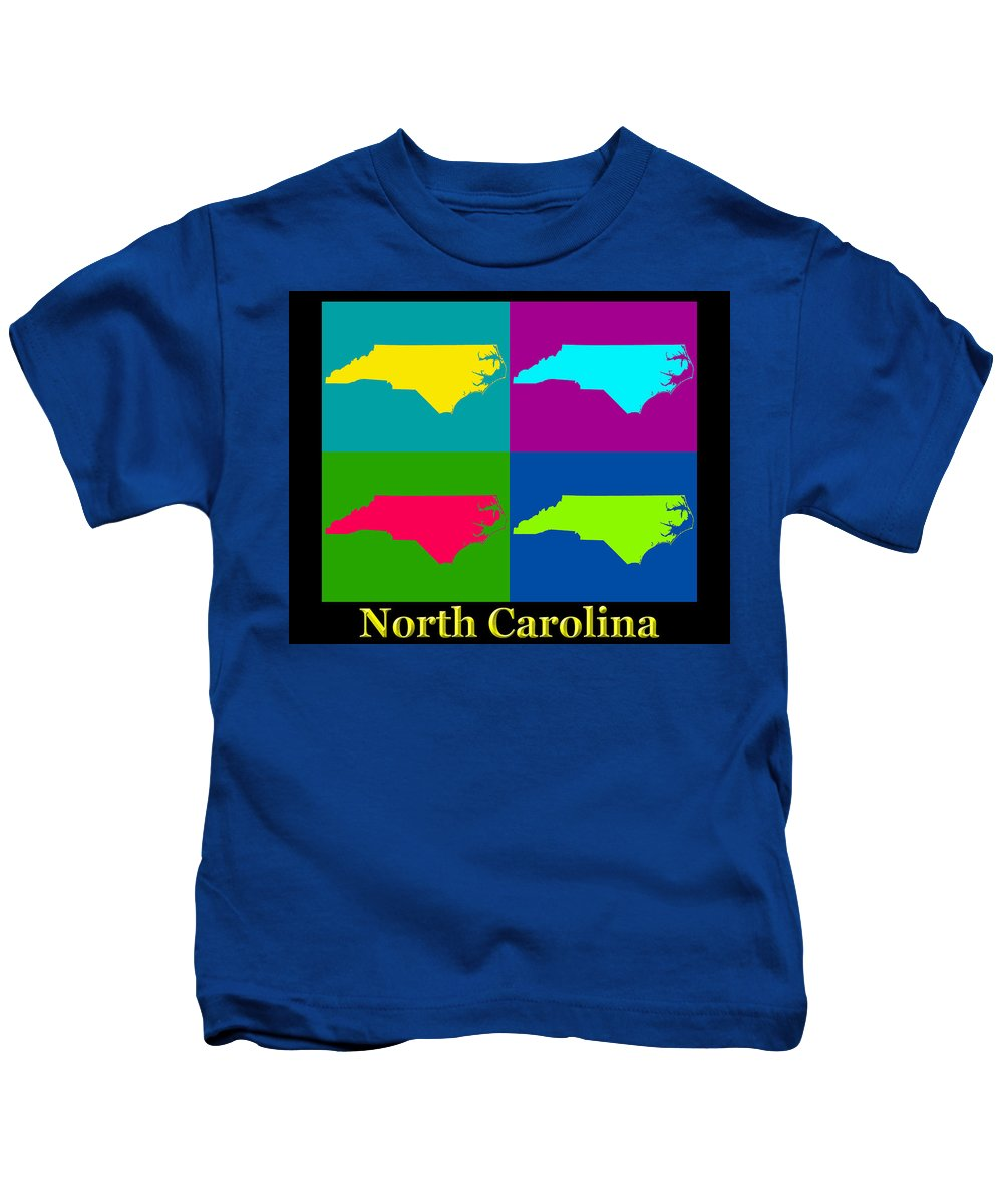 North Carolina Kids T-Shirt featuring the photograph Colorful North Carolina Pop Art Map by Keith Webber Jr