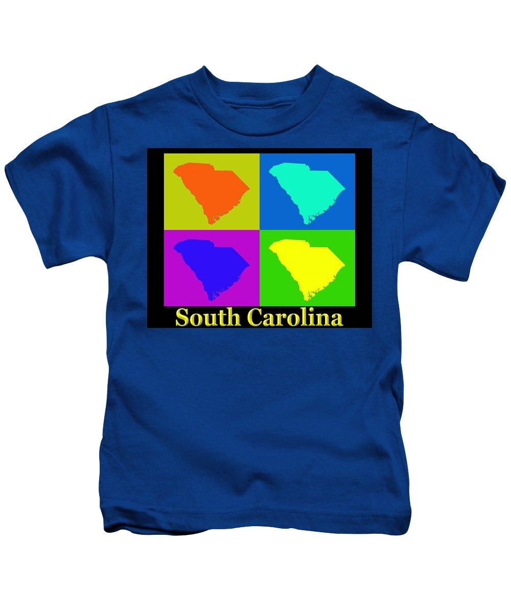 South Carolina Kids T-Shirt featuring the photograph Colorful South Carolina Pop Art Map by Keith Webber Jr