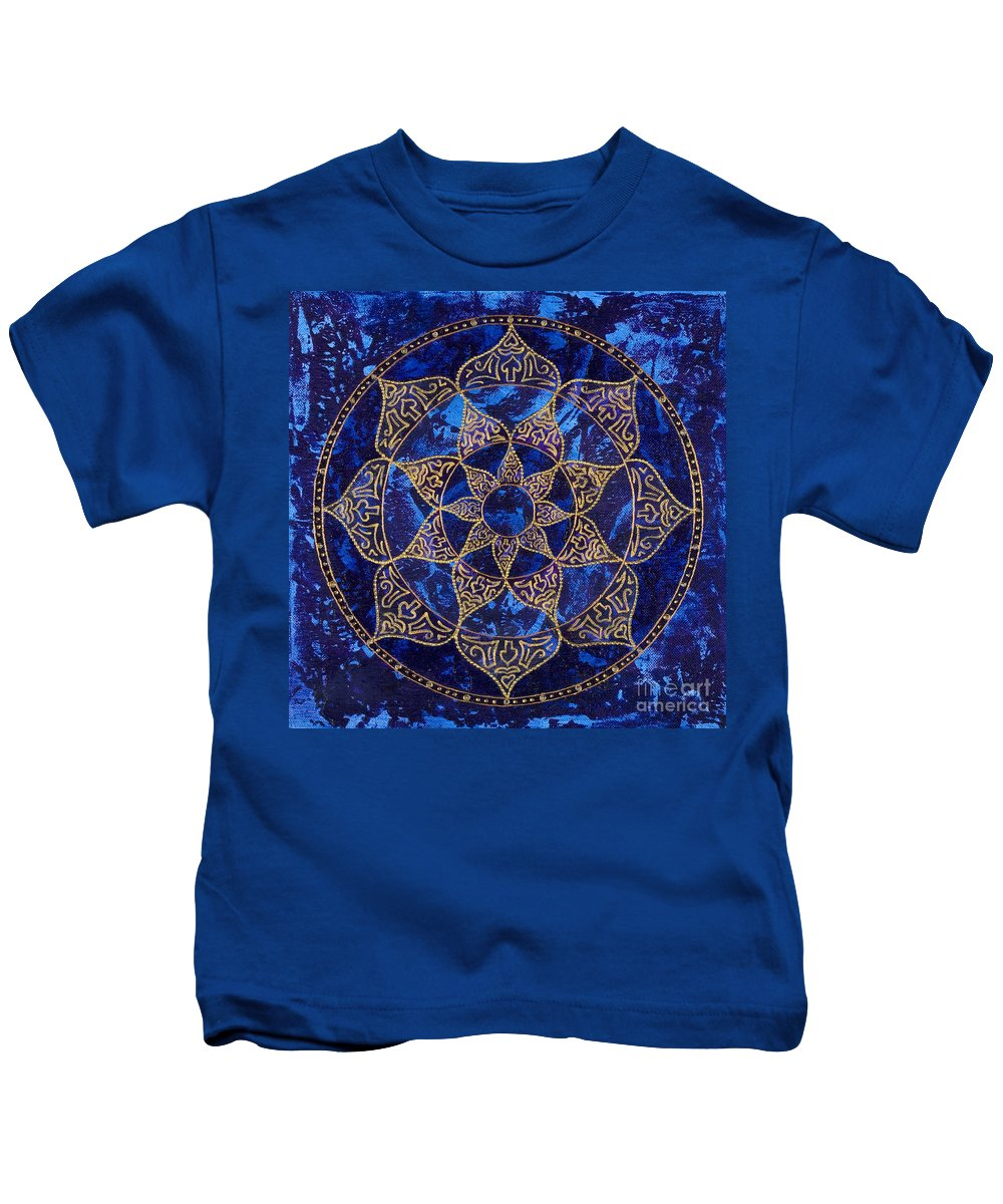 Mandala Kids T-Shirt featuring the painting Cosmic Blue Lotus by Charlotte Backman