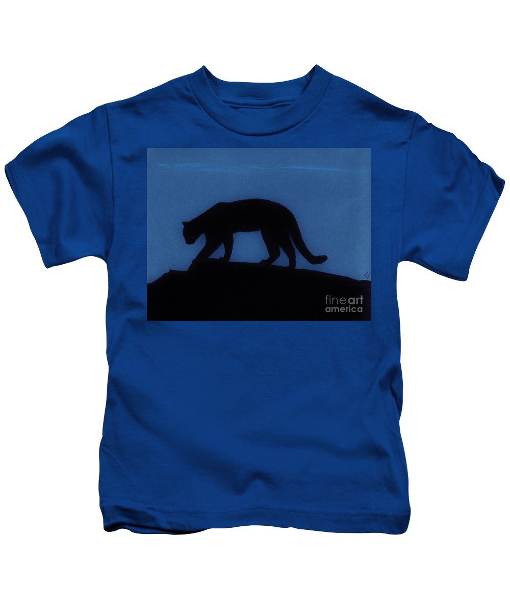 Cougar Kids T-Shirt featuring the drawing Cougar - At - Night by D Hackett