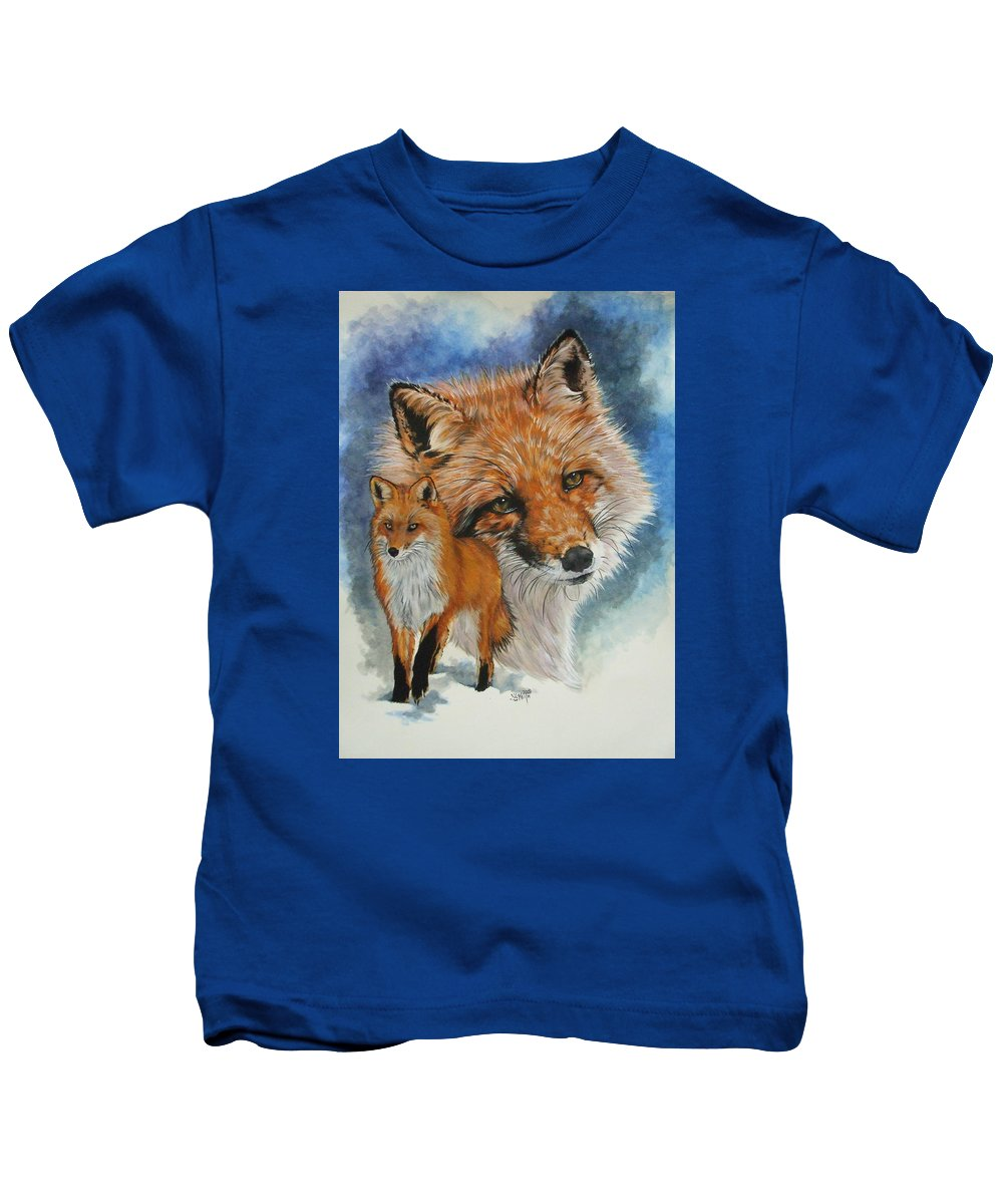 Fox Kids T-Shirt featuring the mixed media Cunning by Barbara Keith