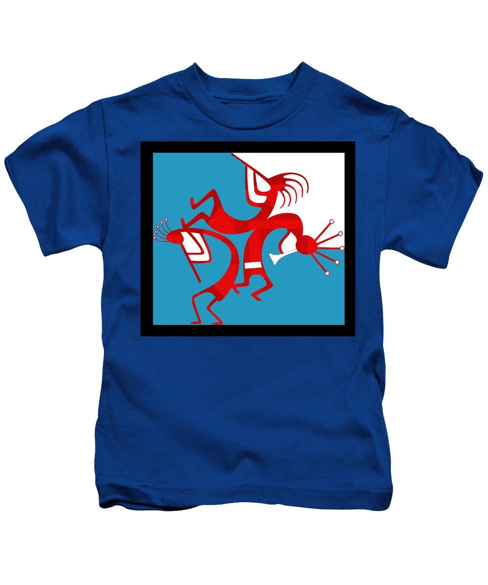 Native American Kids T-Shirt featuring the digital art Dancing Kokopellis by Shannon Story