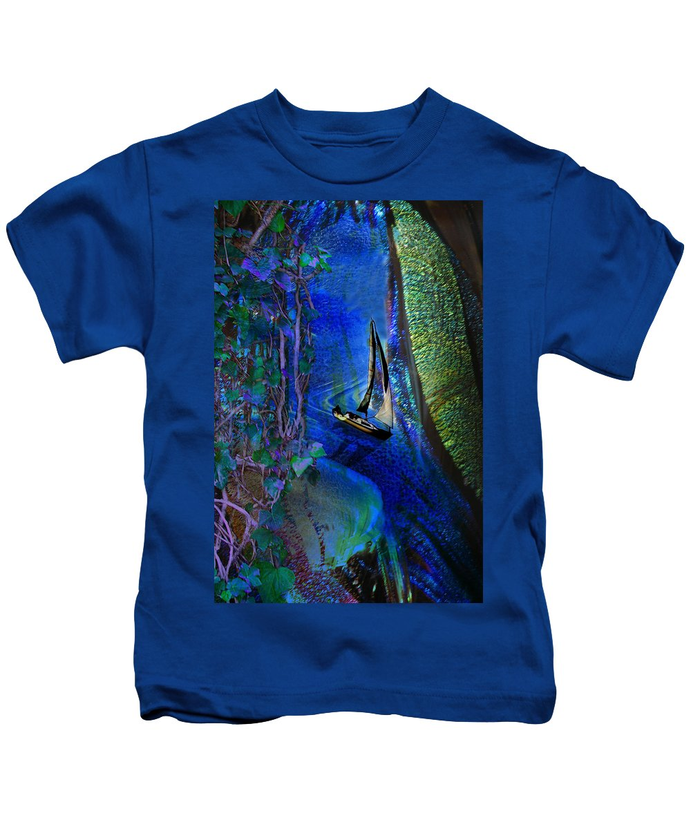 Dark River Kids T-Shirt featuring the digital art Dark River by Lisa Yount