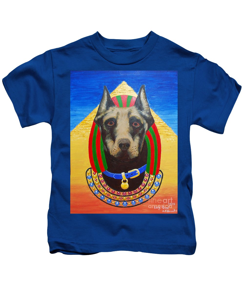 Stephen Kids T-Shirt featuring the painting Dog God by Stephen Brooks